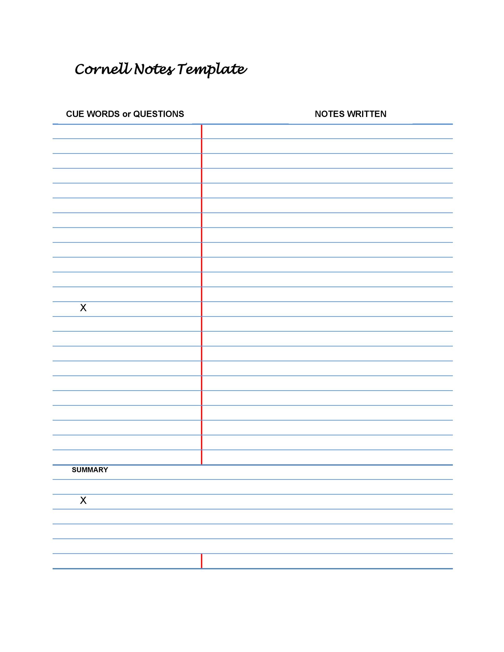 36 Cornell Notes Templates  Examples Word, PDF - Template Lab - Notes Template Word