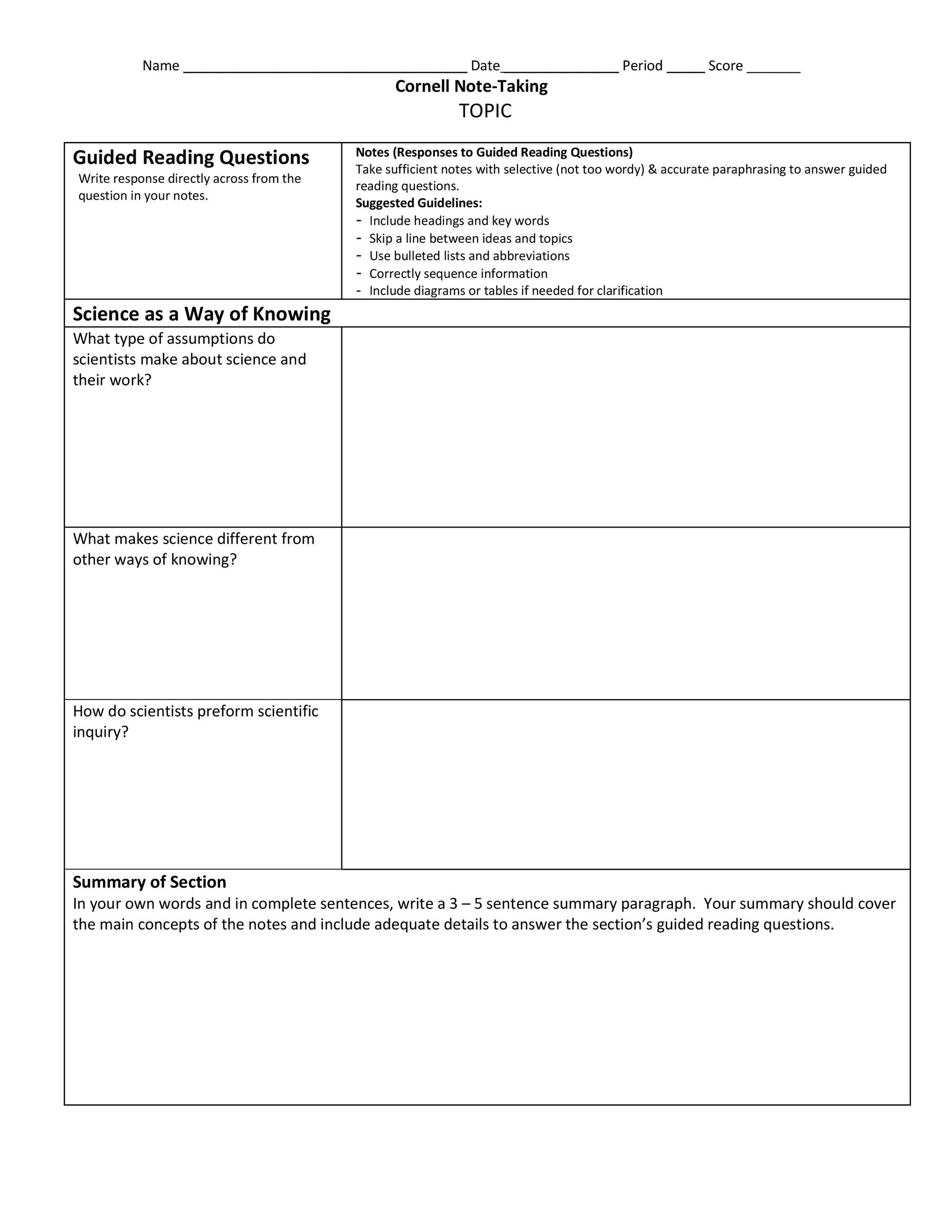 36 Cornell Notes Templates  Examples Word, PDF - Template Lab - Sample Cornell Note