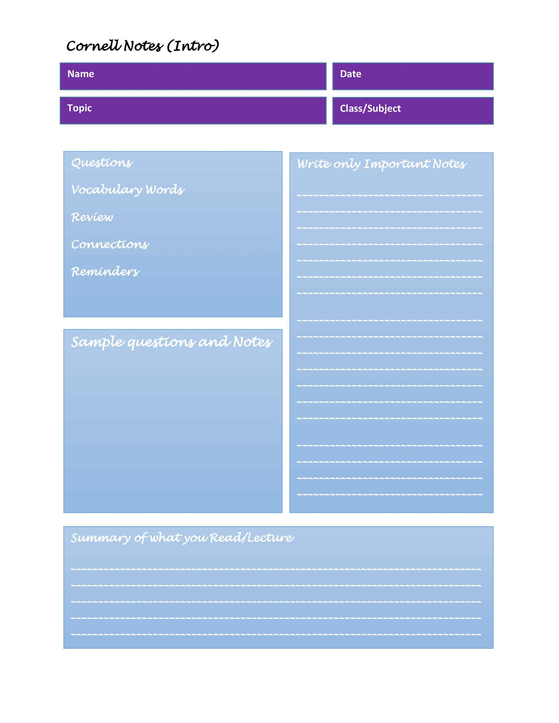 36 Cornell Notes Templates  Examples Word, PDF ᐅ Template Lab