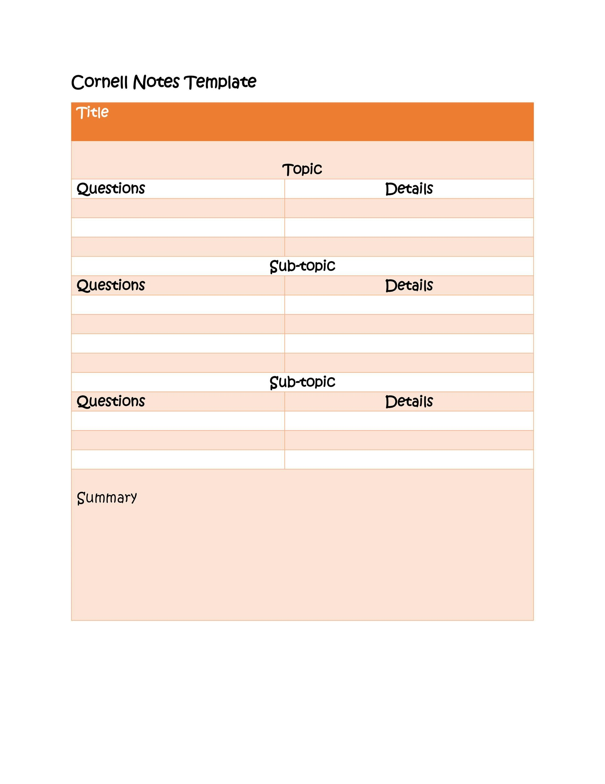 36 Cornell Notes Templates  Examples Word, PDF - Template Lab