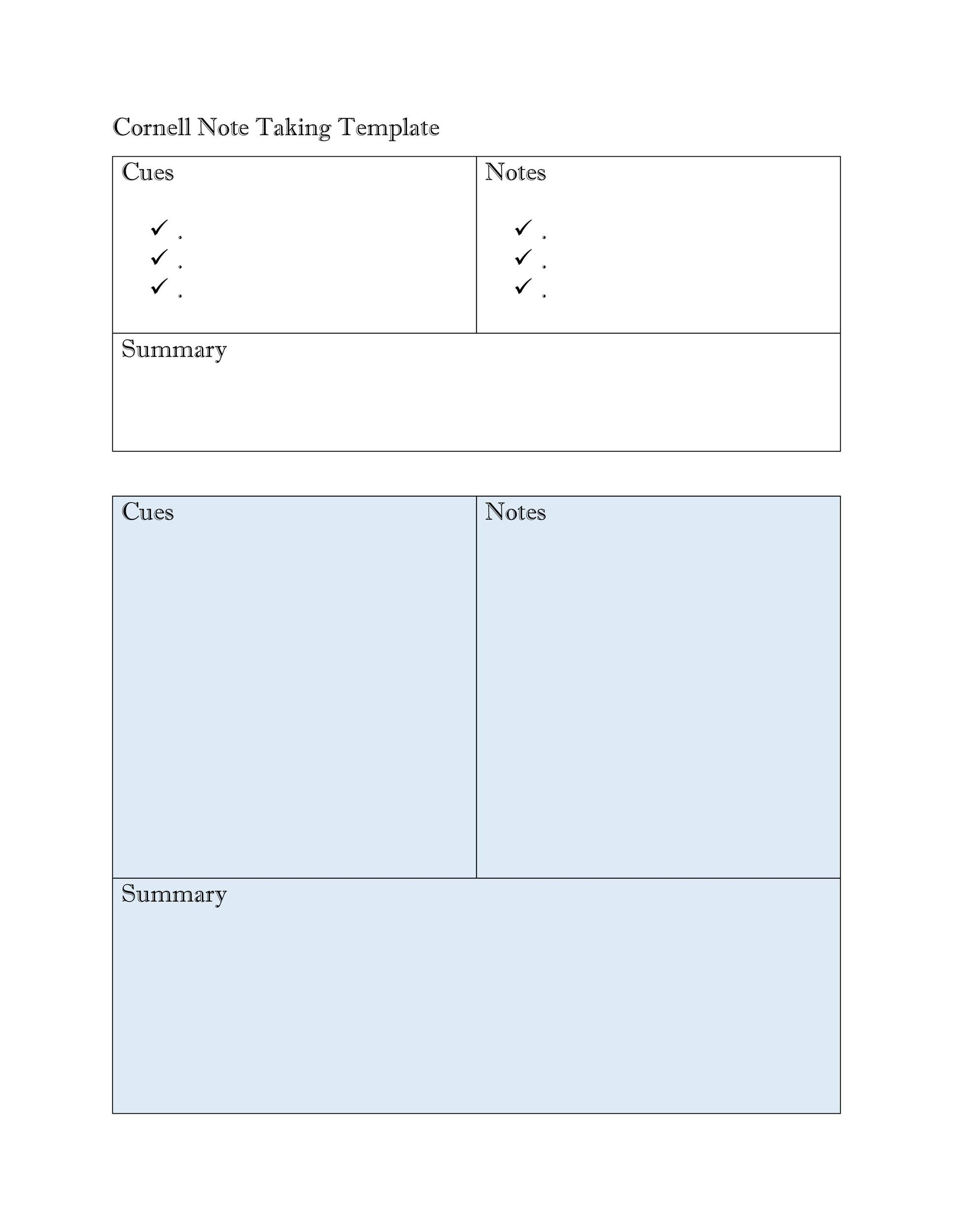 36 Cornell Notes Templates  Examples Word, PDF - Template Lab - Note Template
