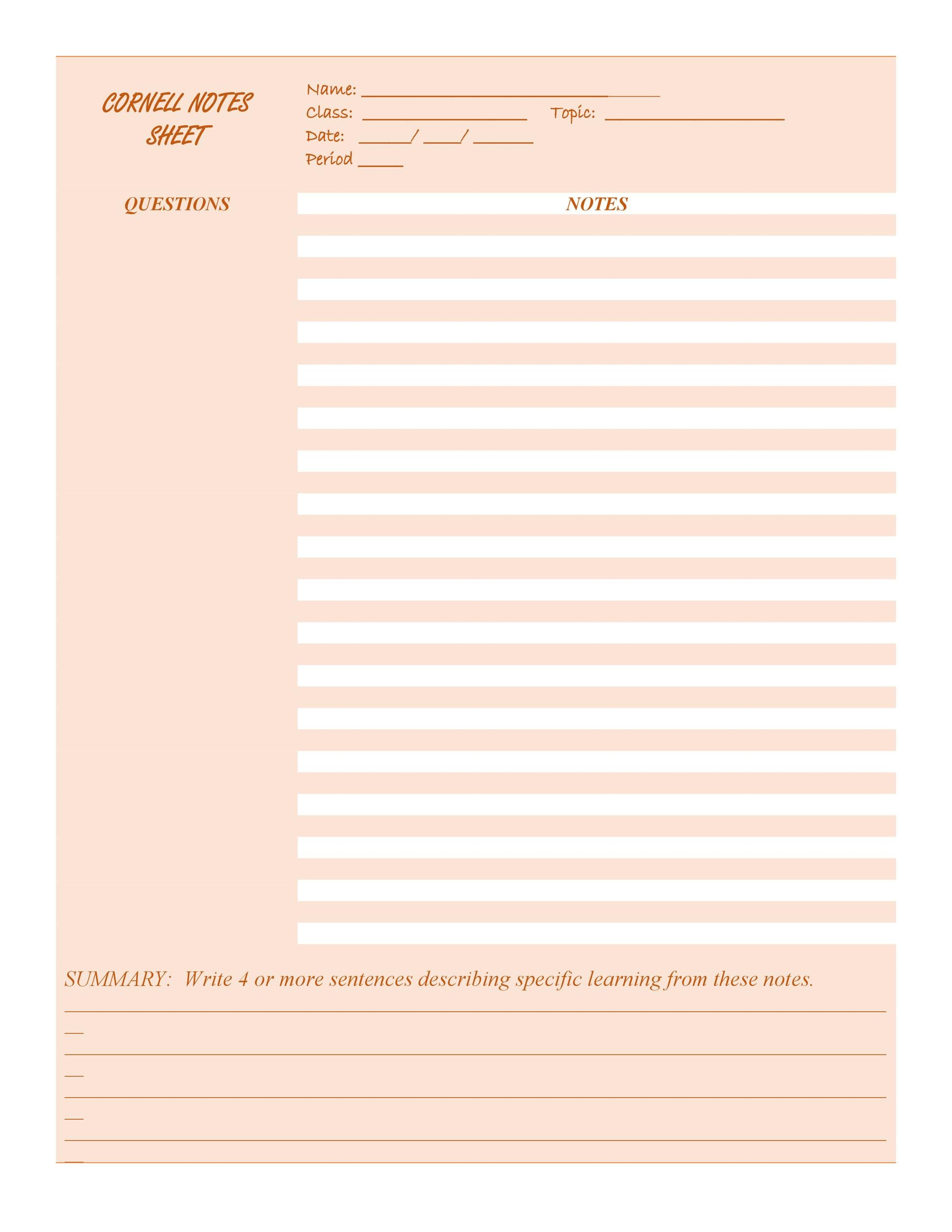 36 Cornell Notes Templates  Examples Word, PDF - Template Lab - note paper template