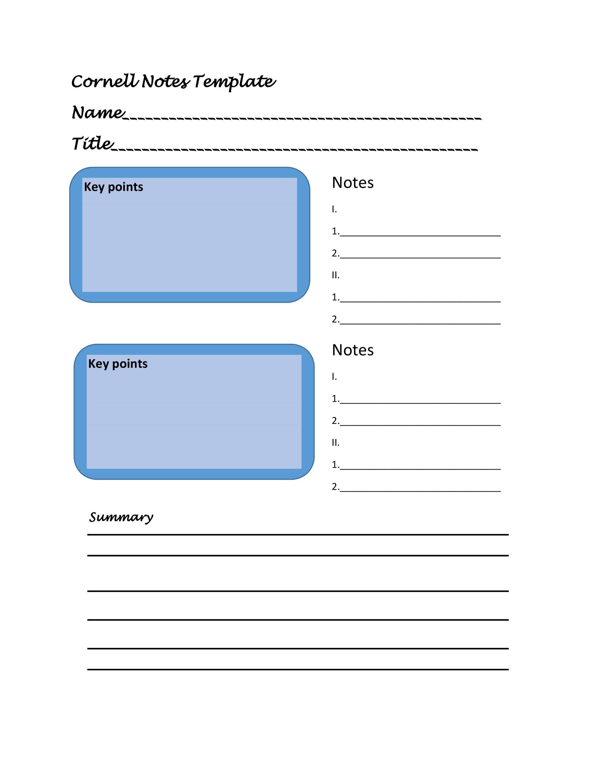36 Cornell Notes Templates  Examples Word, PDF - Template Lab - cornell note template