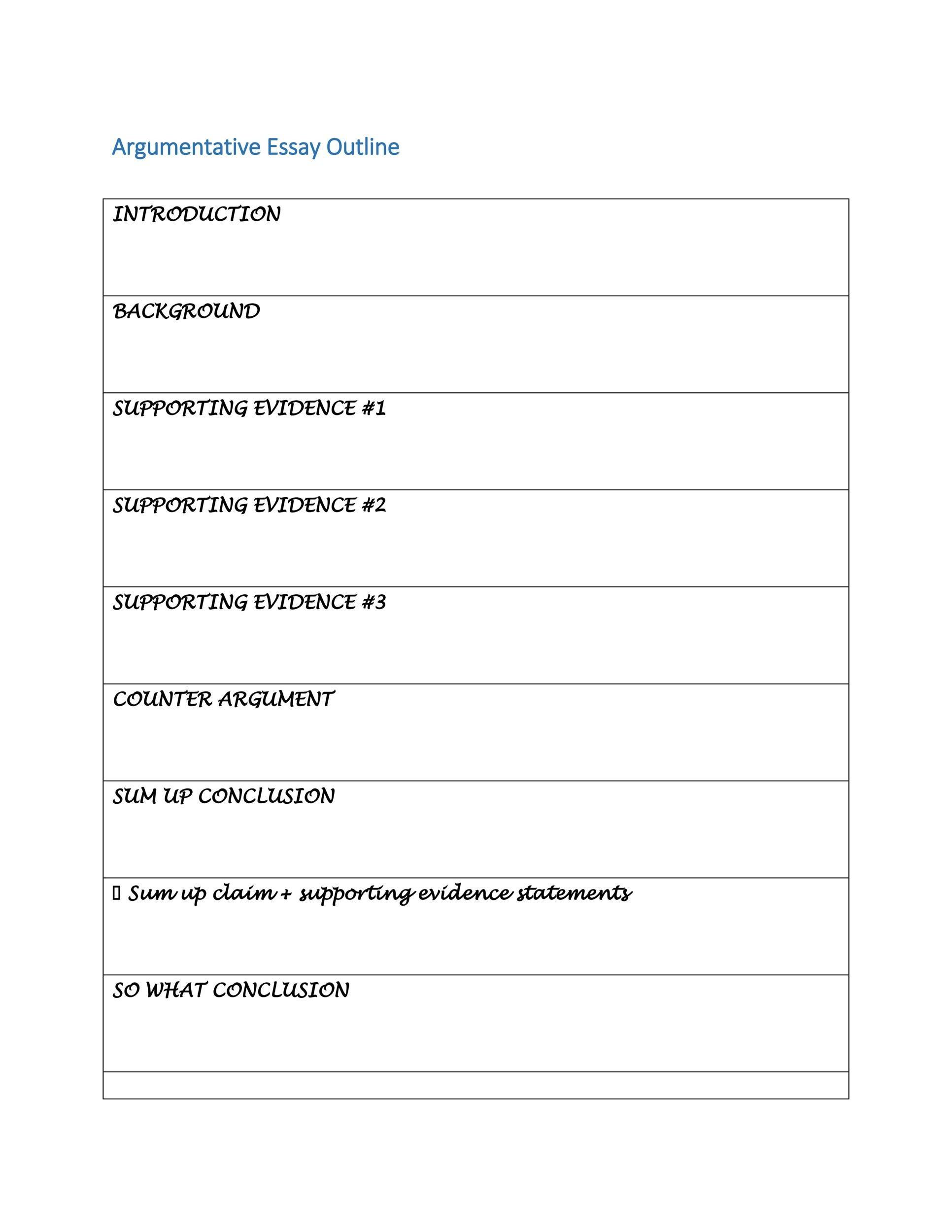37 Outstanding Essay Outline Templates (Argumentative, Narrative