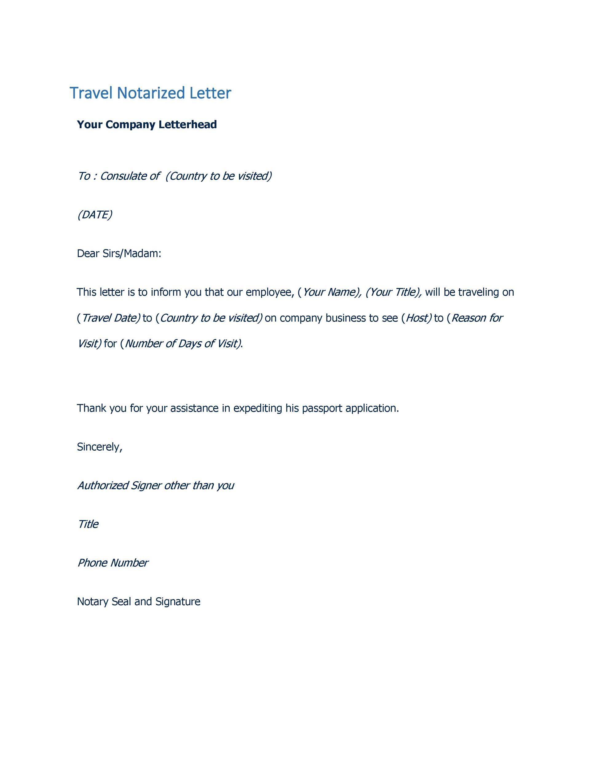 Permission to travel letter template resume template notarized letter sample parents consent letter template for permission to travel letter template altavistaventures Images