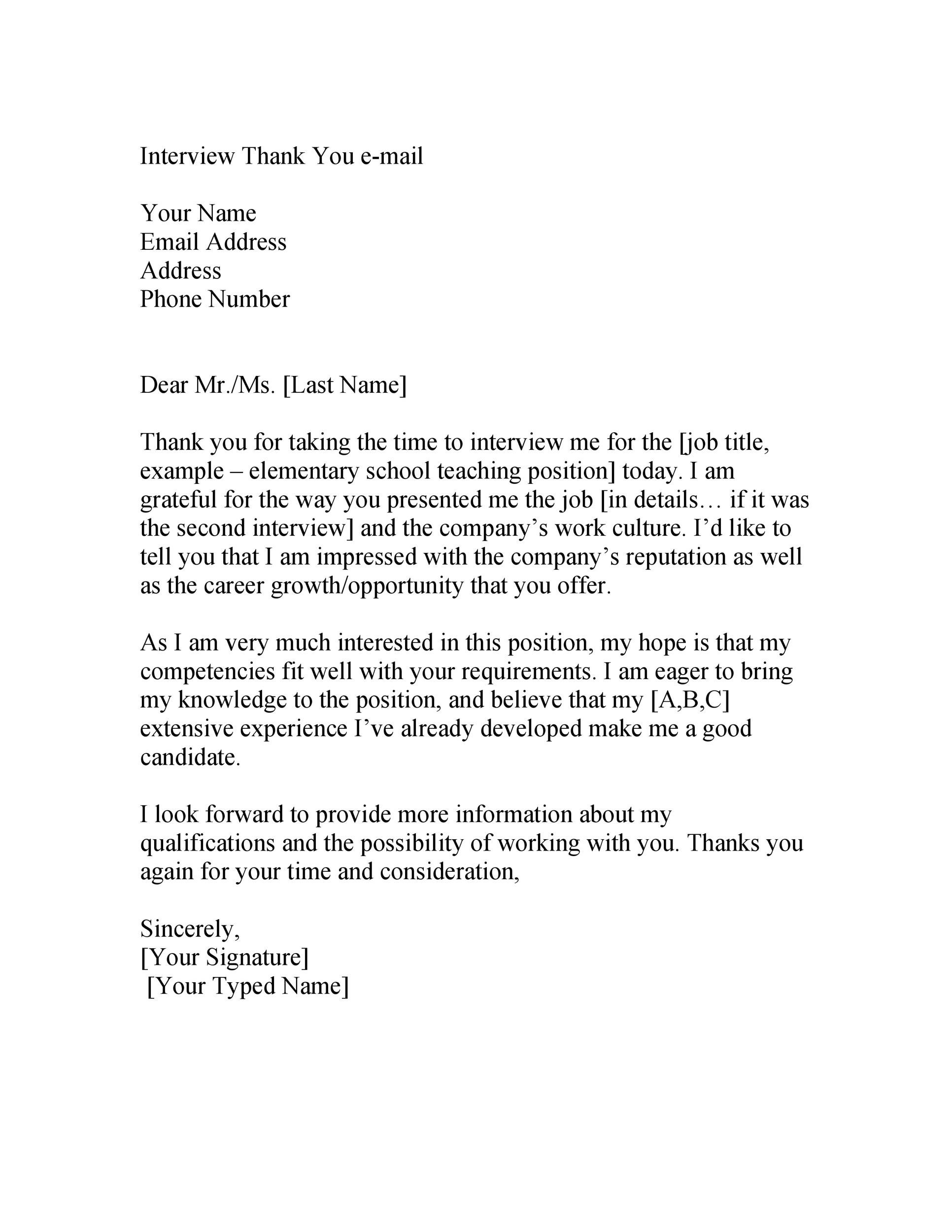 40 Thank You Email After Interview Templates - Template Lab - thank you for the opportunity to interview