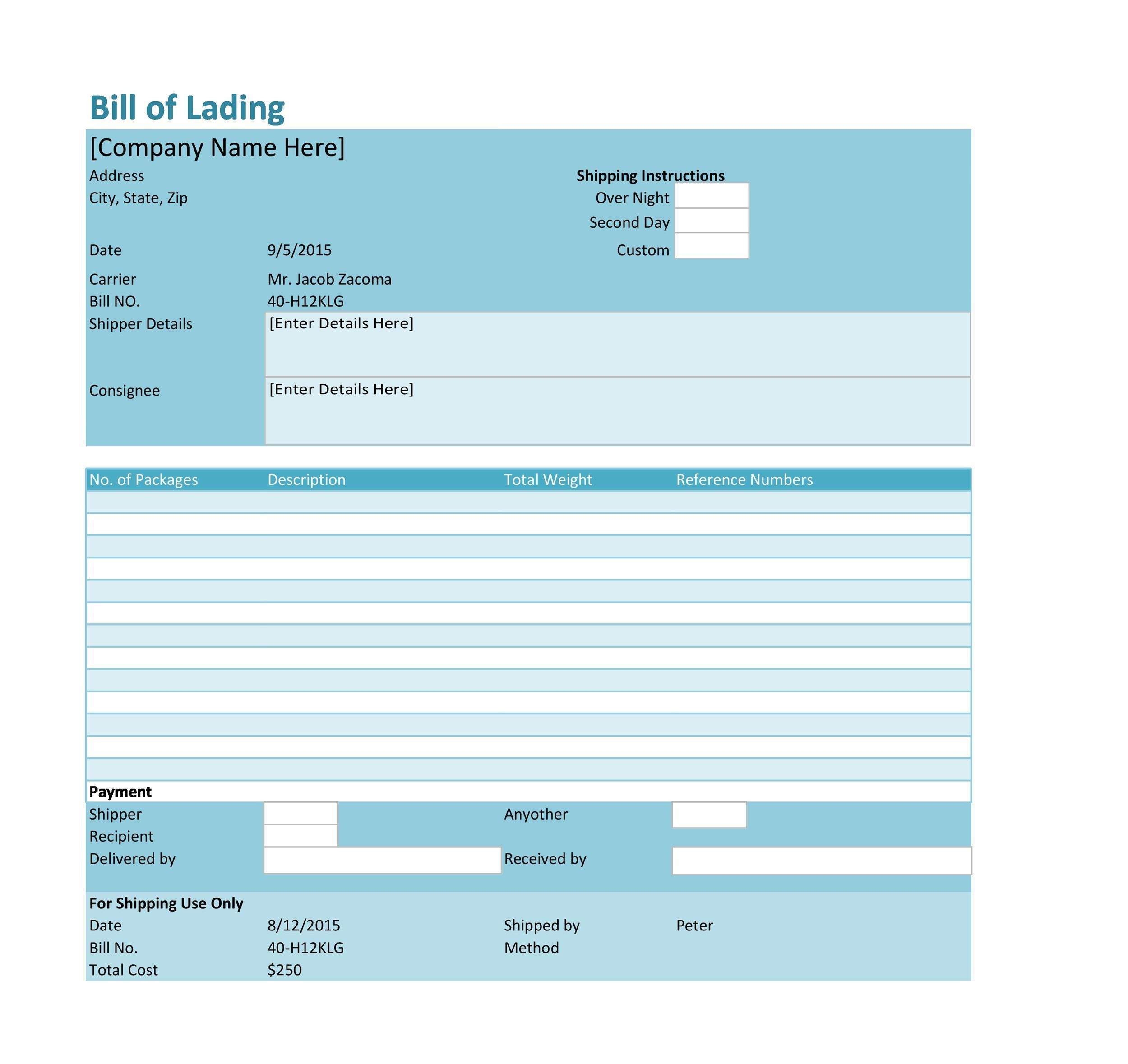 40 Free Bill of Lading Forms  Templates - Template Lab - Blank Bill Of Lading Template