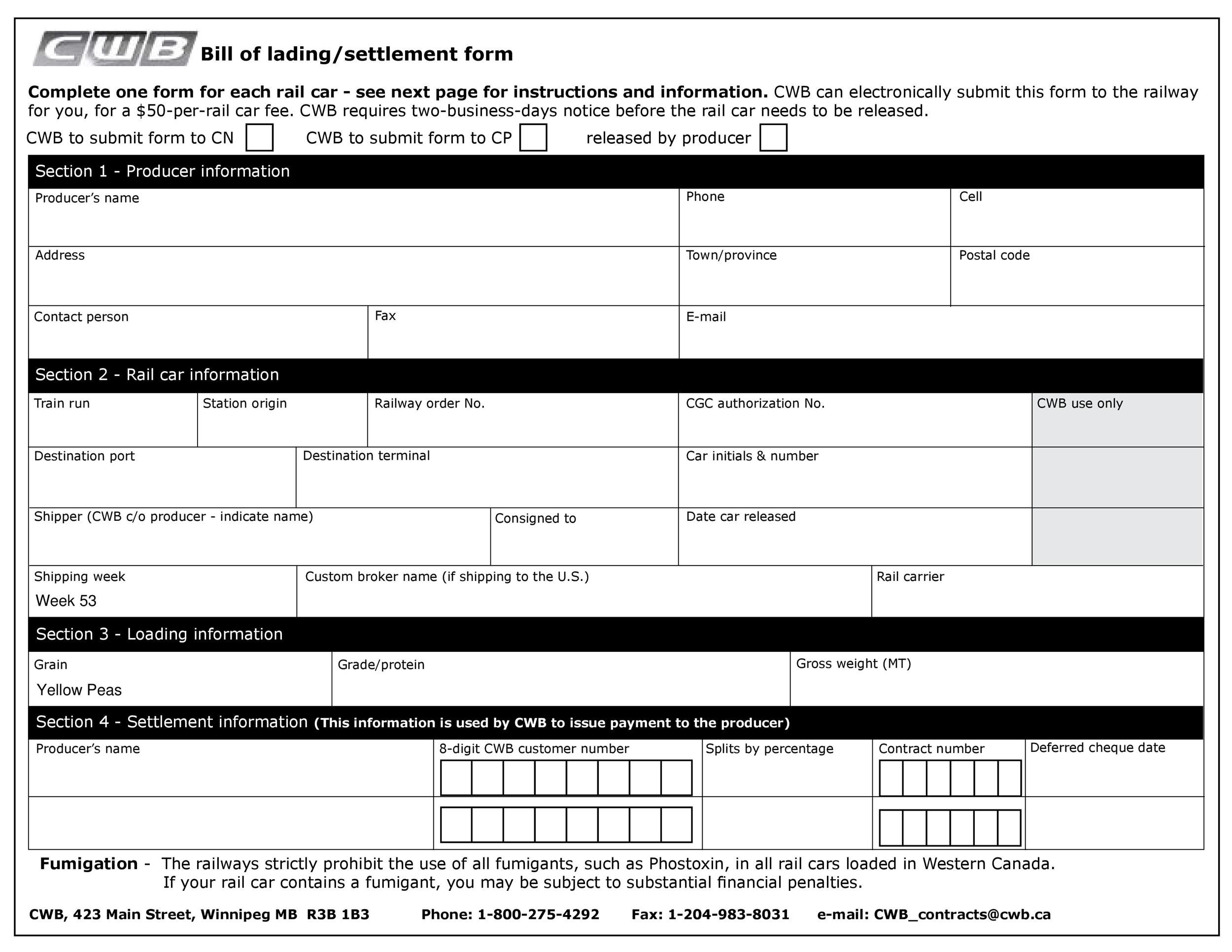 40 Free Bill of Lading Forms  Templates - Template Lab - Bill Of Lading Form