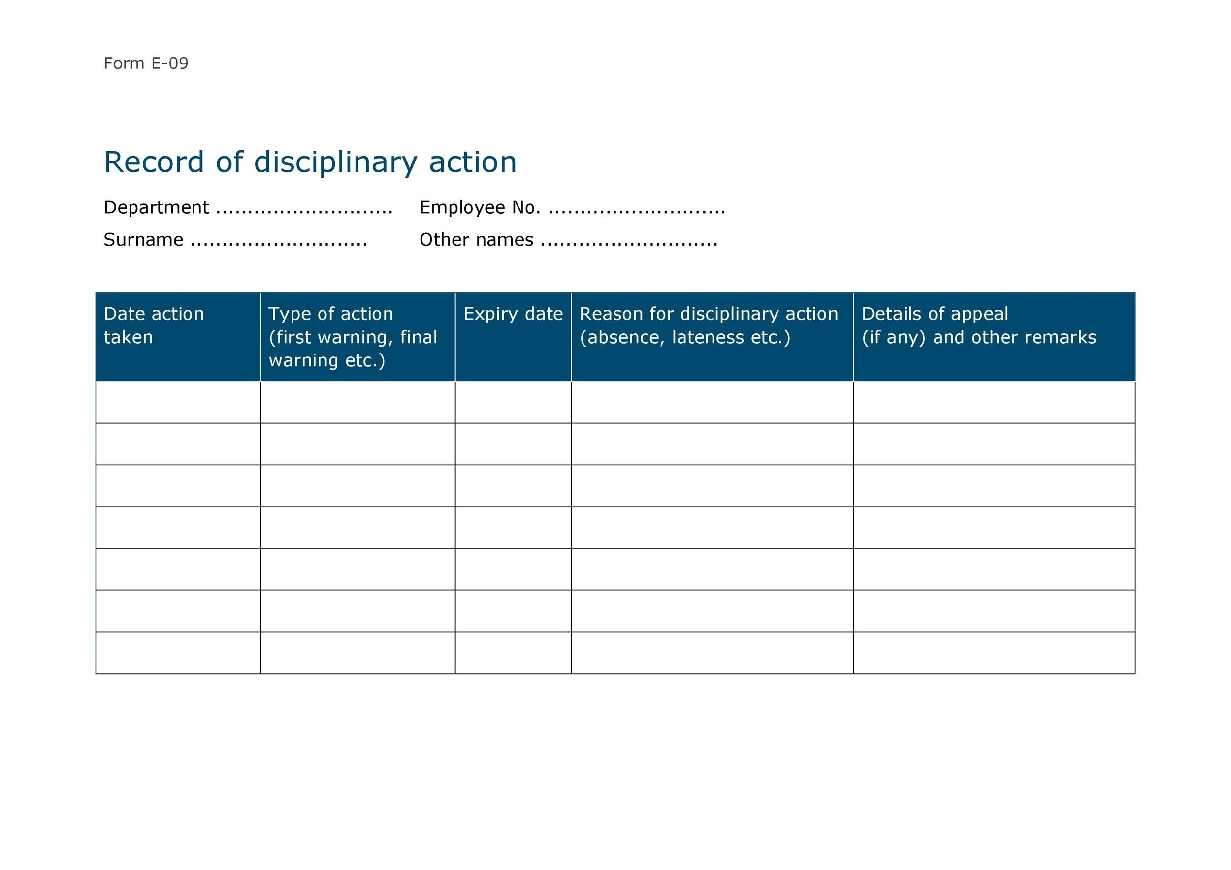 46 Effective Employee Write Up Forms + Disciplinary Action Forms - disciplinary memo template
