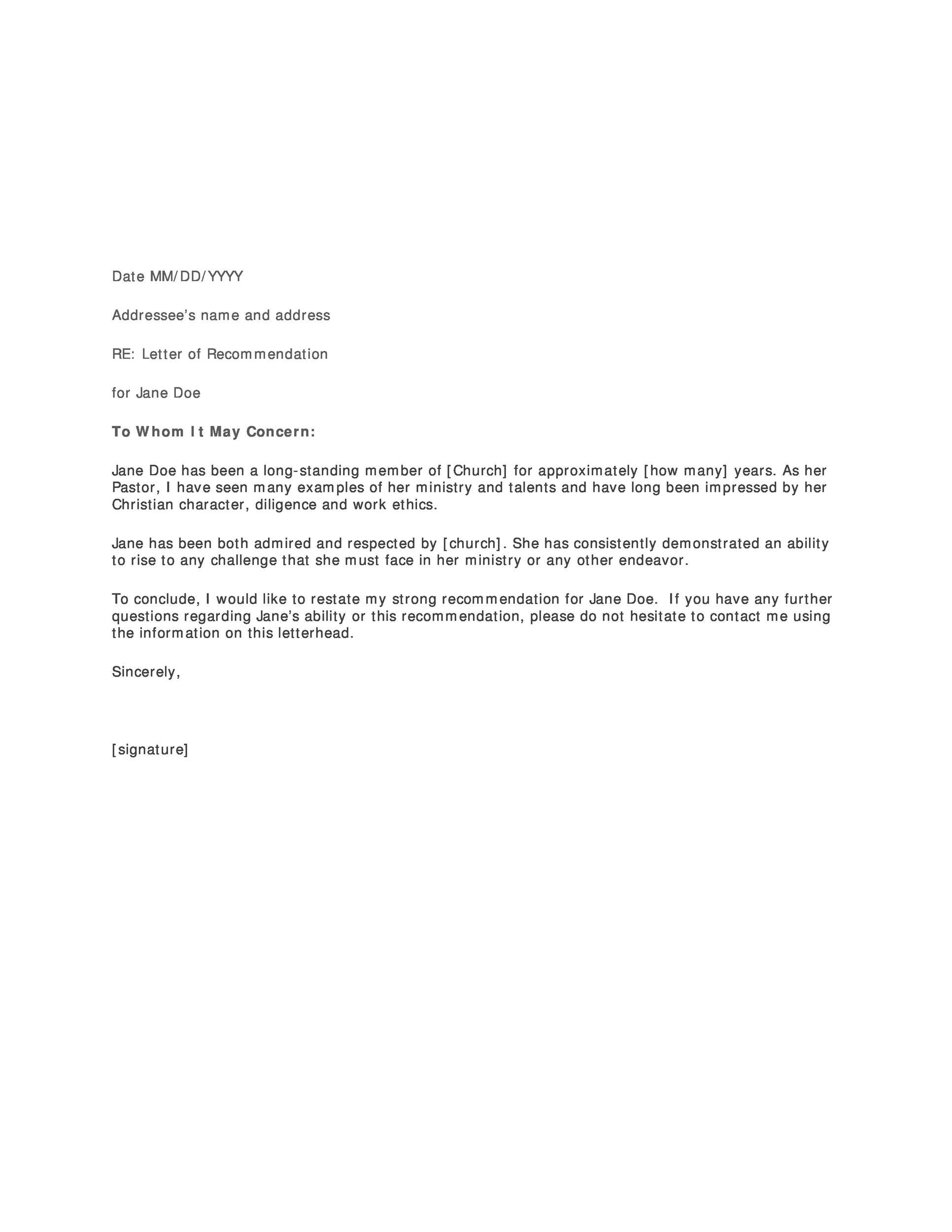Letter Of Recommendation Template The Balance 43 Free Letter Of Recommendation Templates And Samples