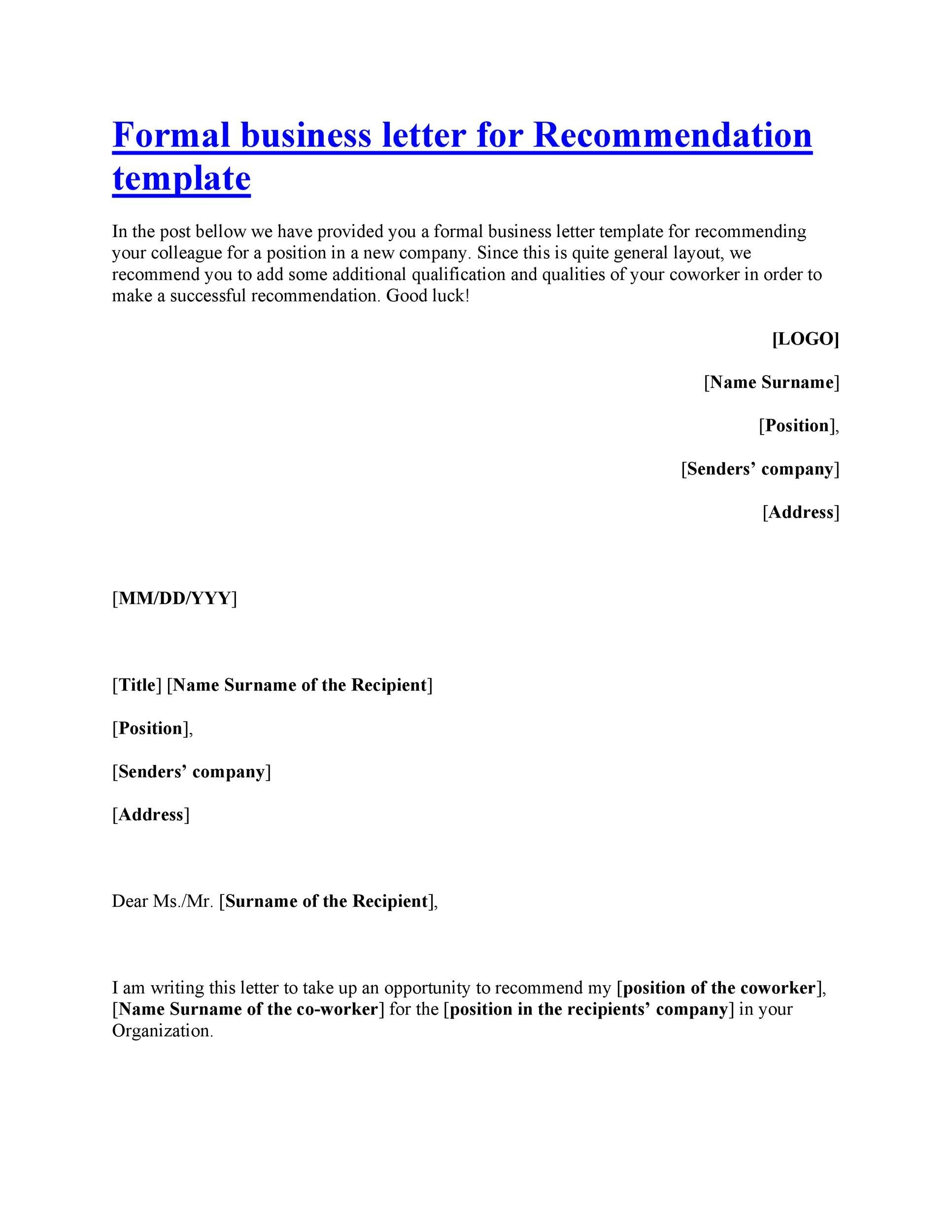 Free Letter Of Recommendation Template And Format 43 Free Letter Of Recommendation Templates And Samples