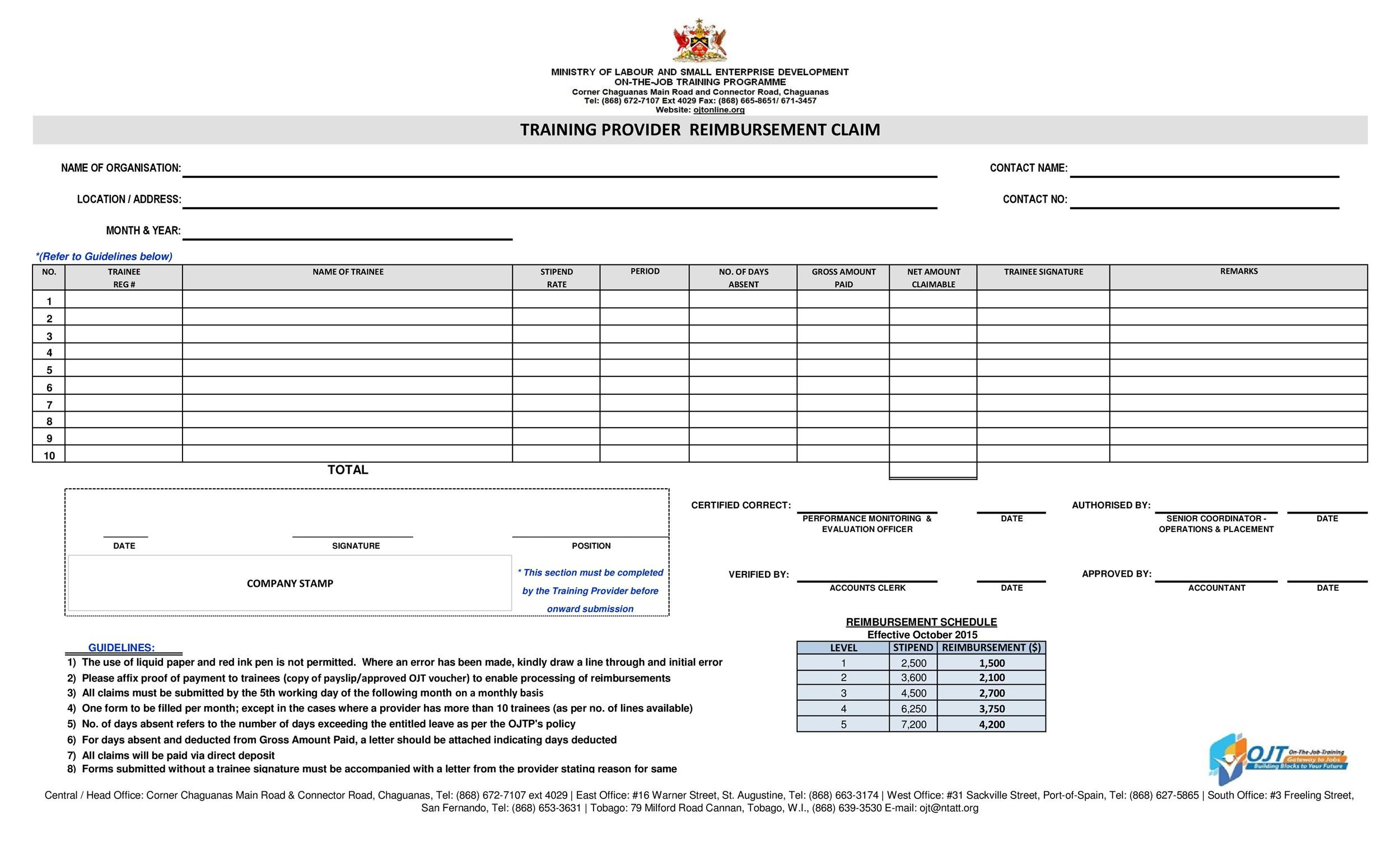 47 Reimbursement Form Templates Mileage, Expense, VSP - reimbursement form