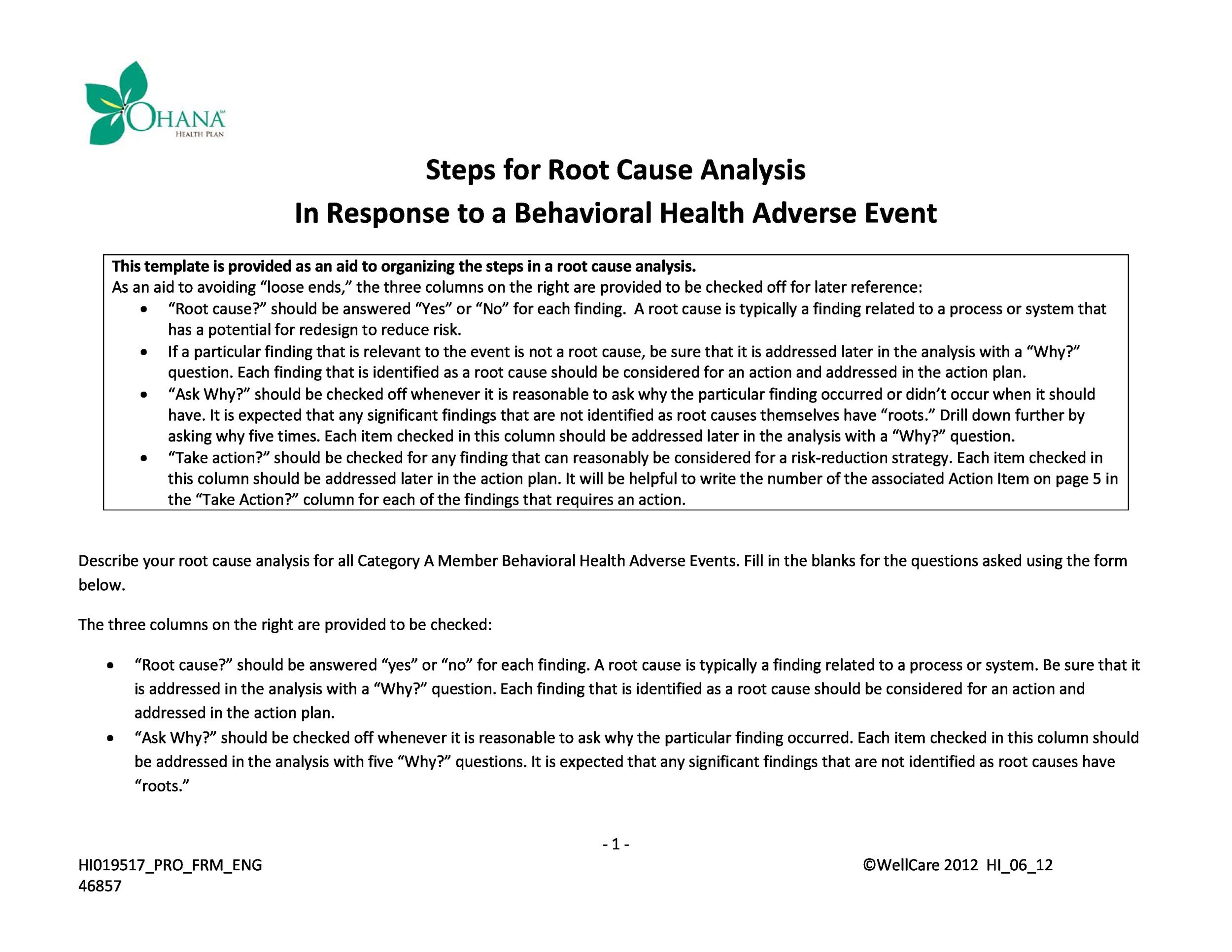 40+ Effective Root Cause Analysis Templates, Forms  Examples - root cause analysis template