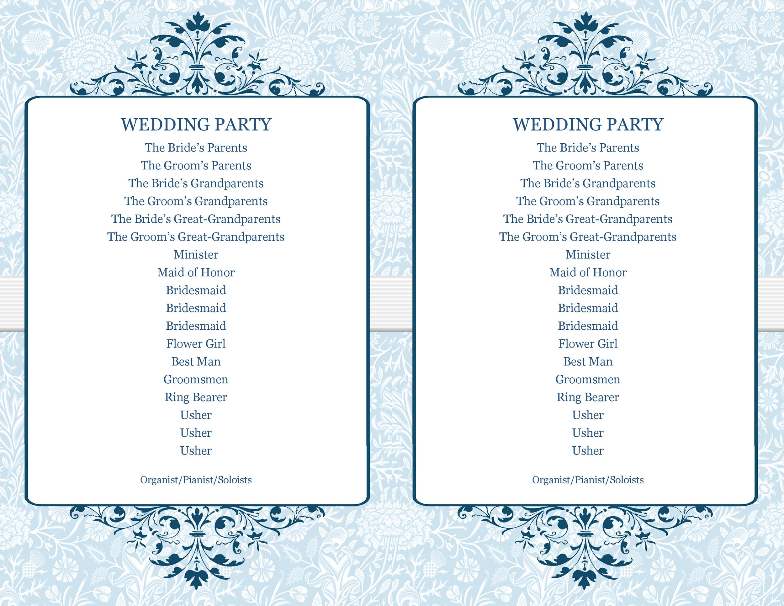 37 Printable Wedding Program Examples  Templates ᐅ Template Lab