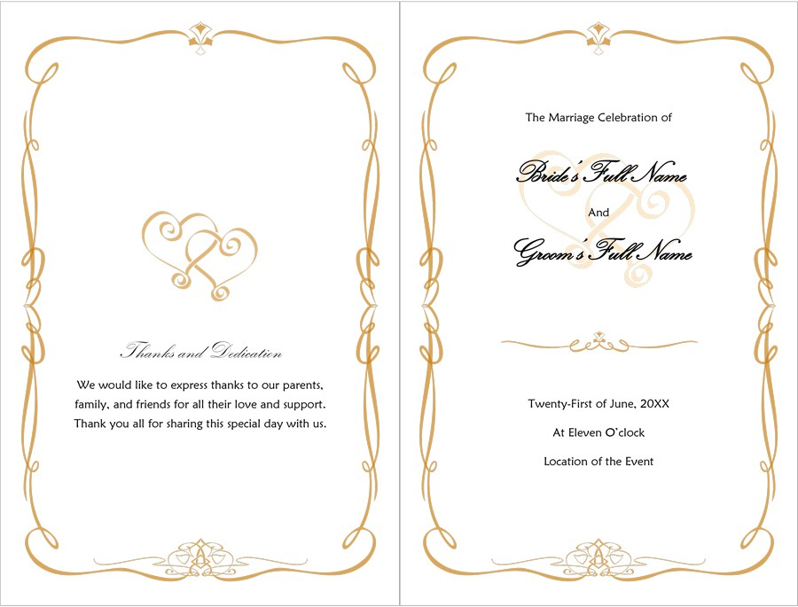 37 Printable Wedding Program Examples  Templates - Template Lab