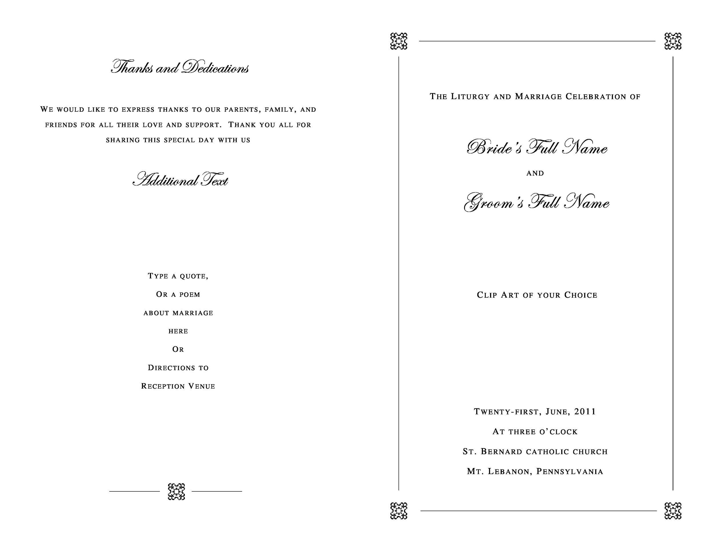 37 Printable Wedding Program Examples  Templates - Template Lab