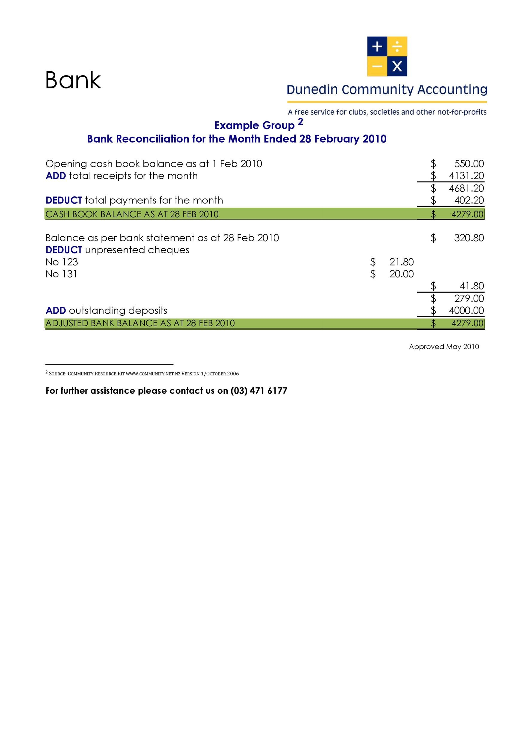 50+ Bank Reconciliation Examples  Templates 100 Free - bank reconciliation example