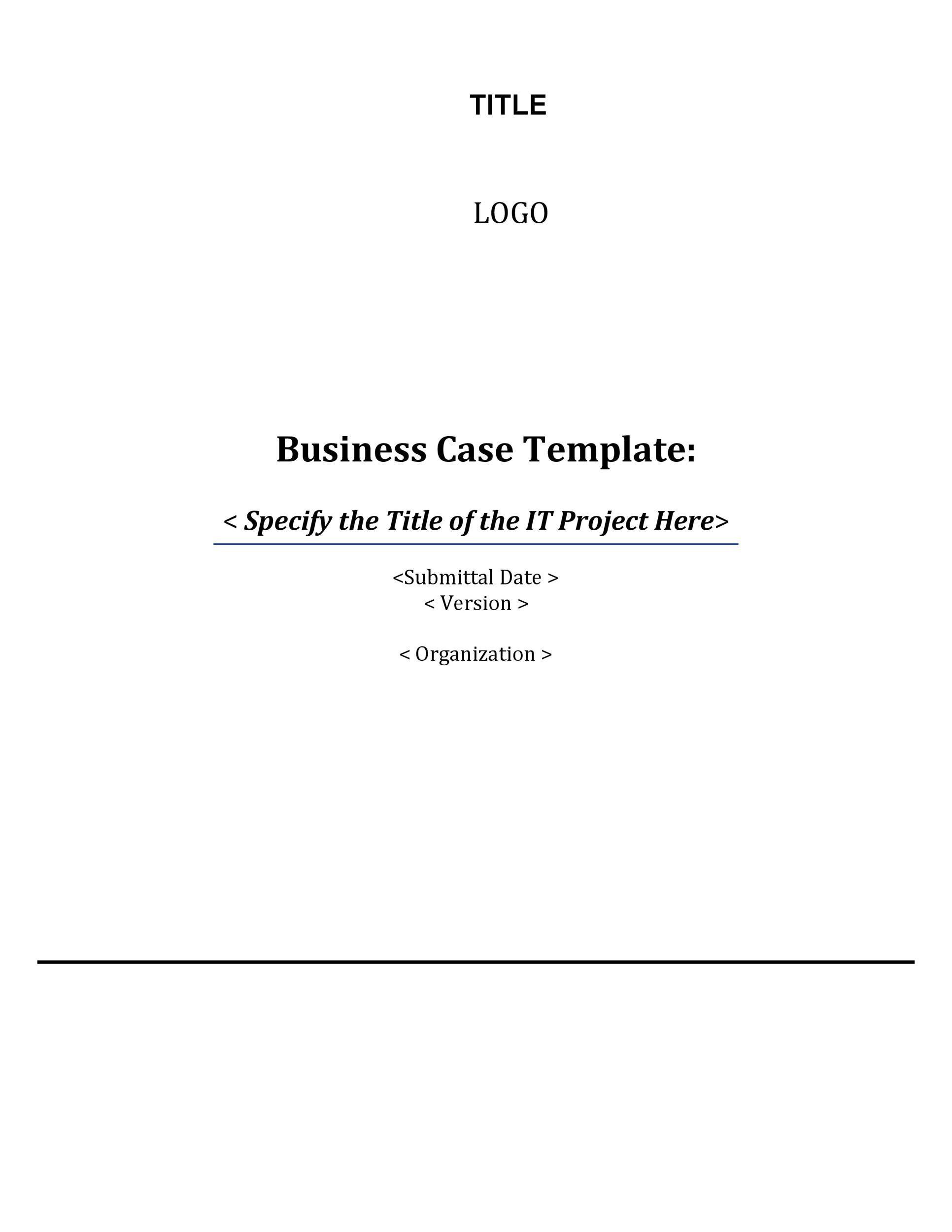 it project business case template 52 It project business case – Simple Business Case Template