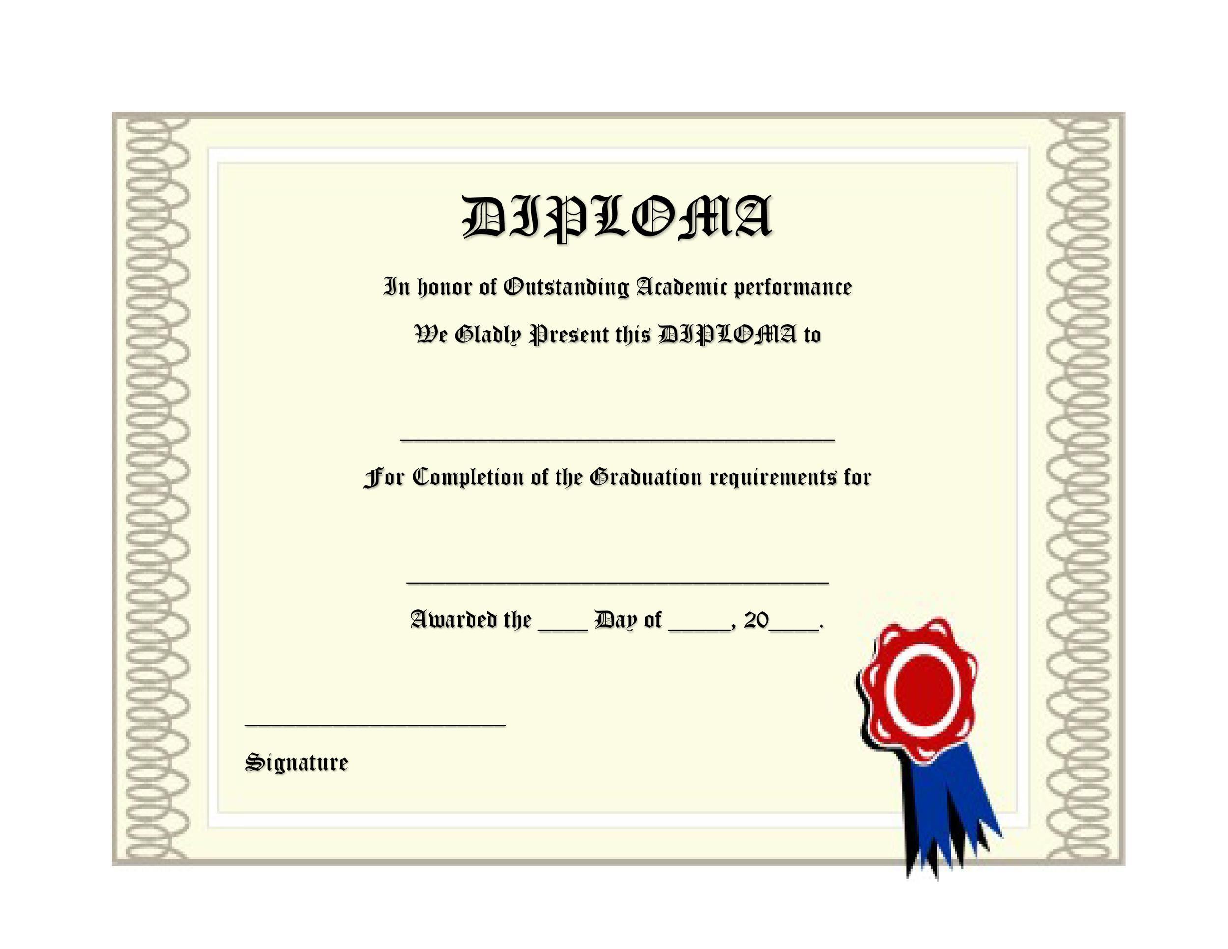 Fake High School Diploma Template New Diploma On High School - blank high school diploma