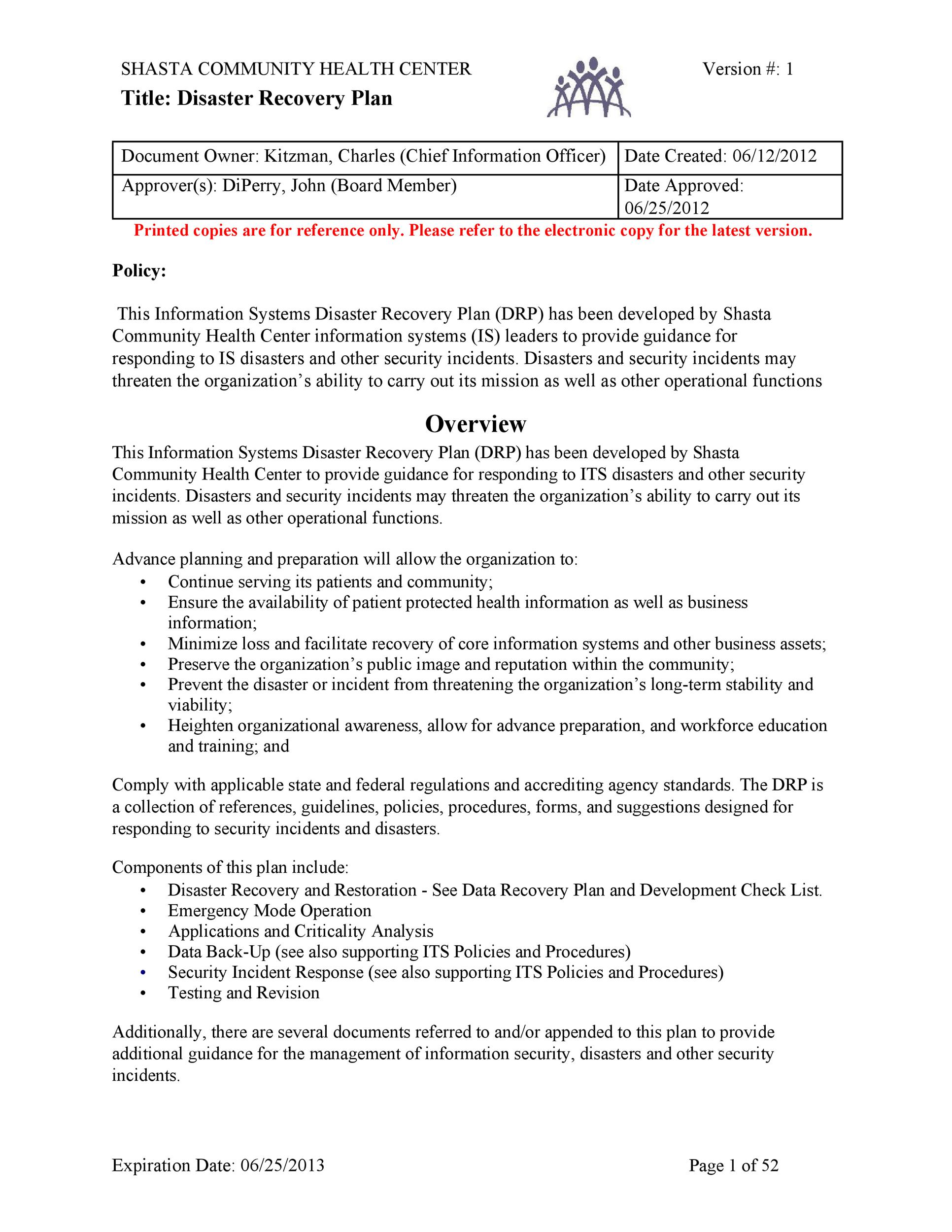 52 Effective Disaster Recovery Plan Templates DRP - Template Lab