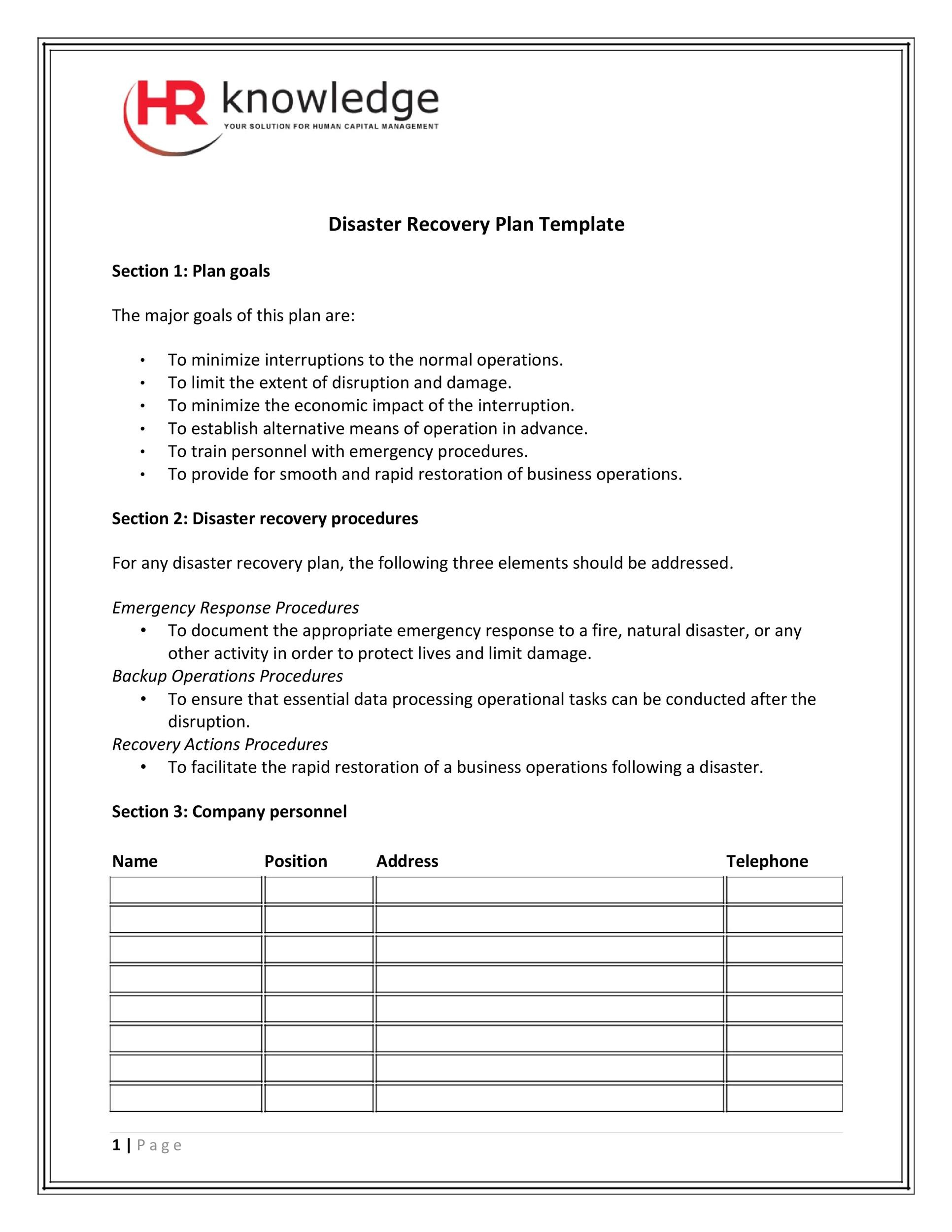 52 Effective Disaster Recovery Plan Templates DRP - Template Lab - disaster recovery plan template