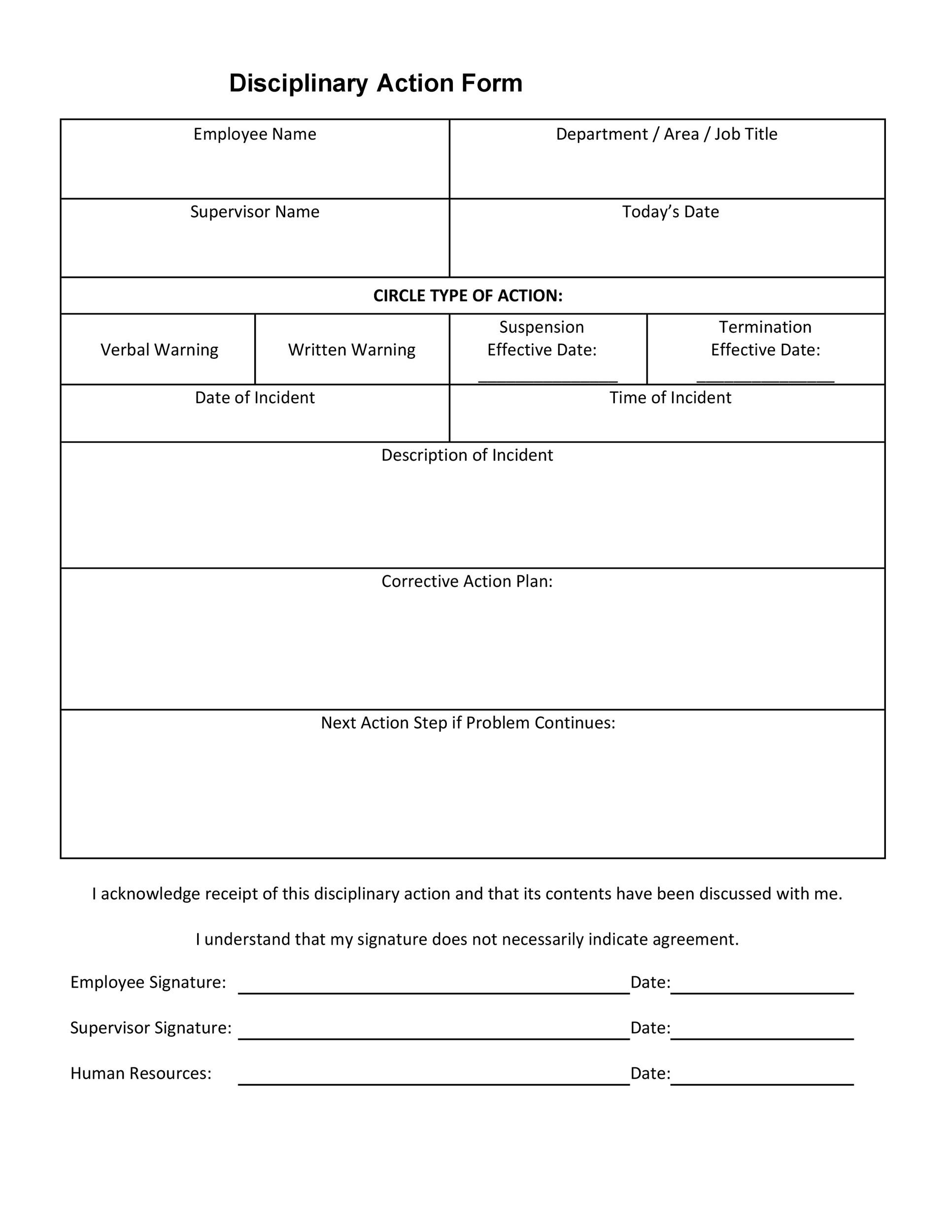 40 Employee Disciplinary Action Forms ᐅ Template Lab