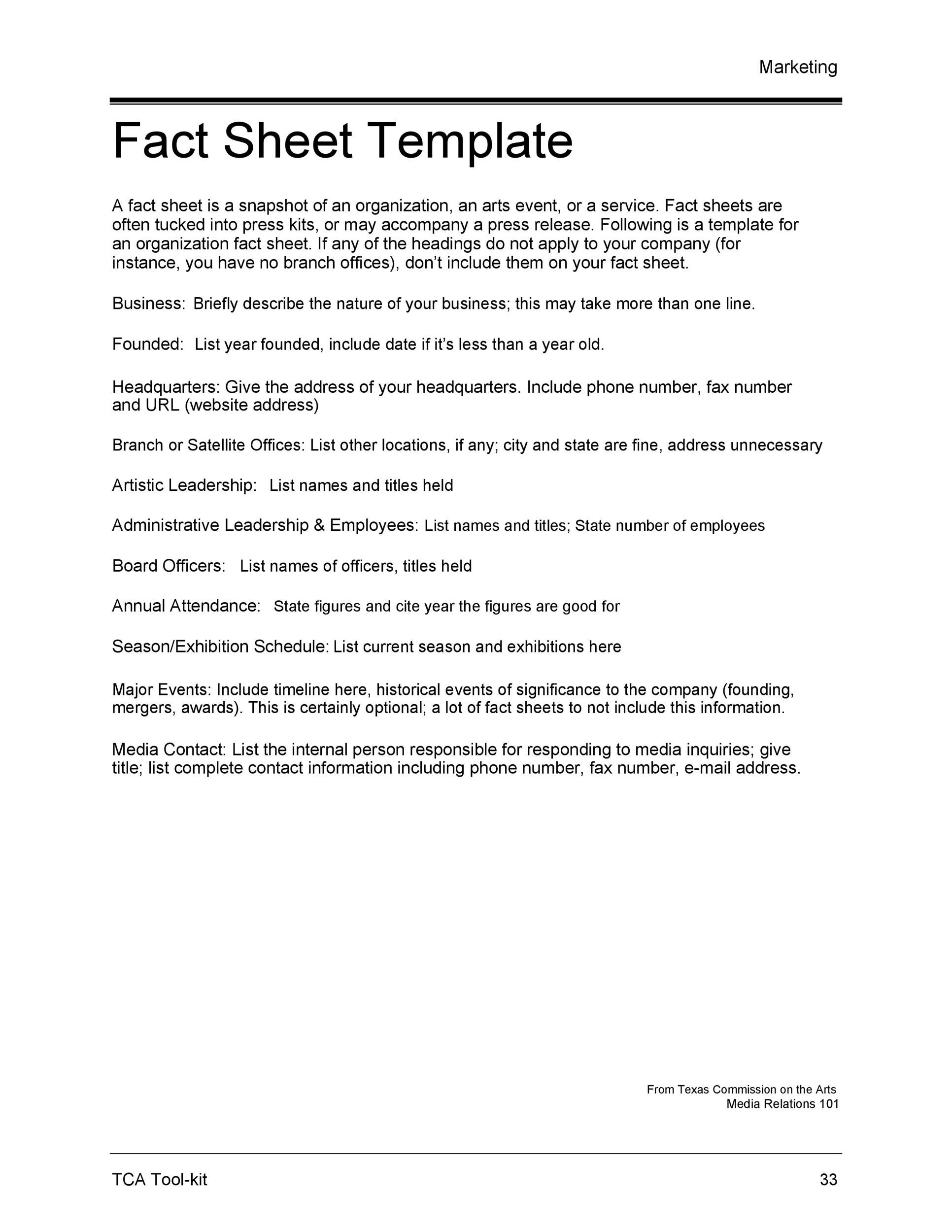 60+ Beautiful Fact Sheet Templates, Examples and Designs