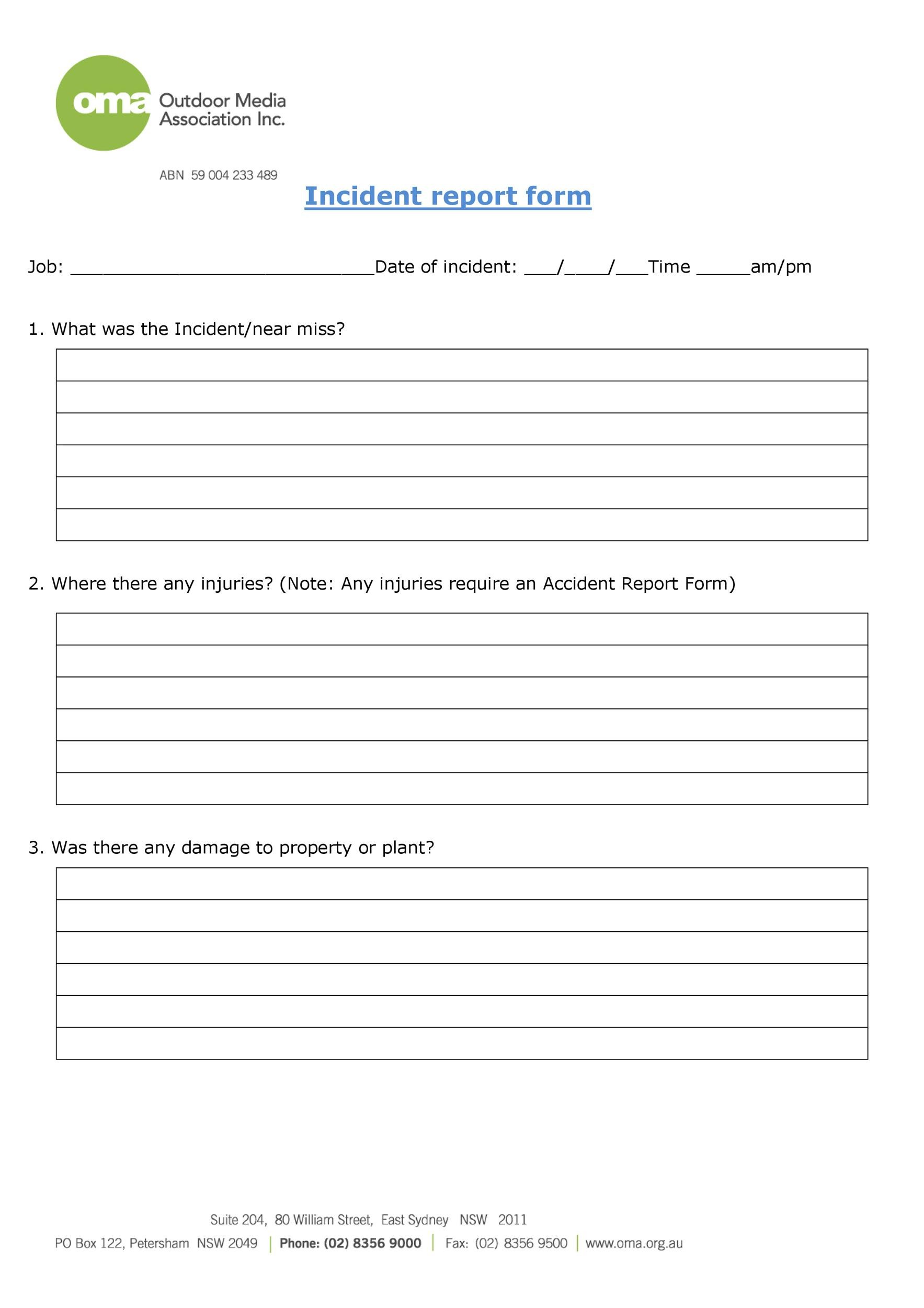 60+ Incident Report Template Employee, Police, Generic - Template Lab - accident reports template