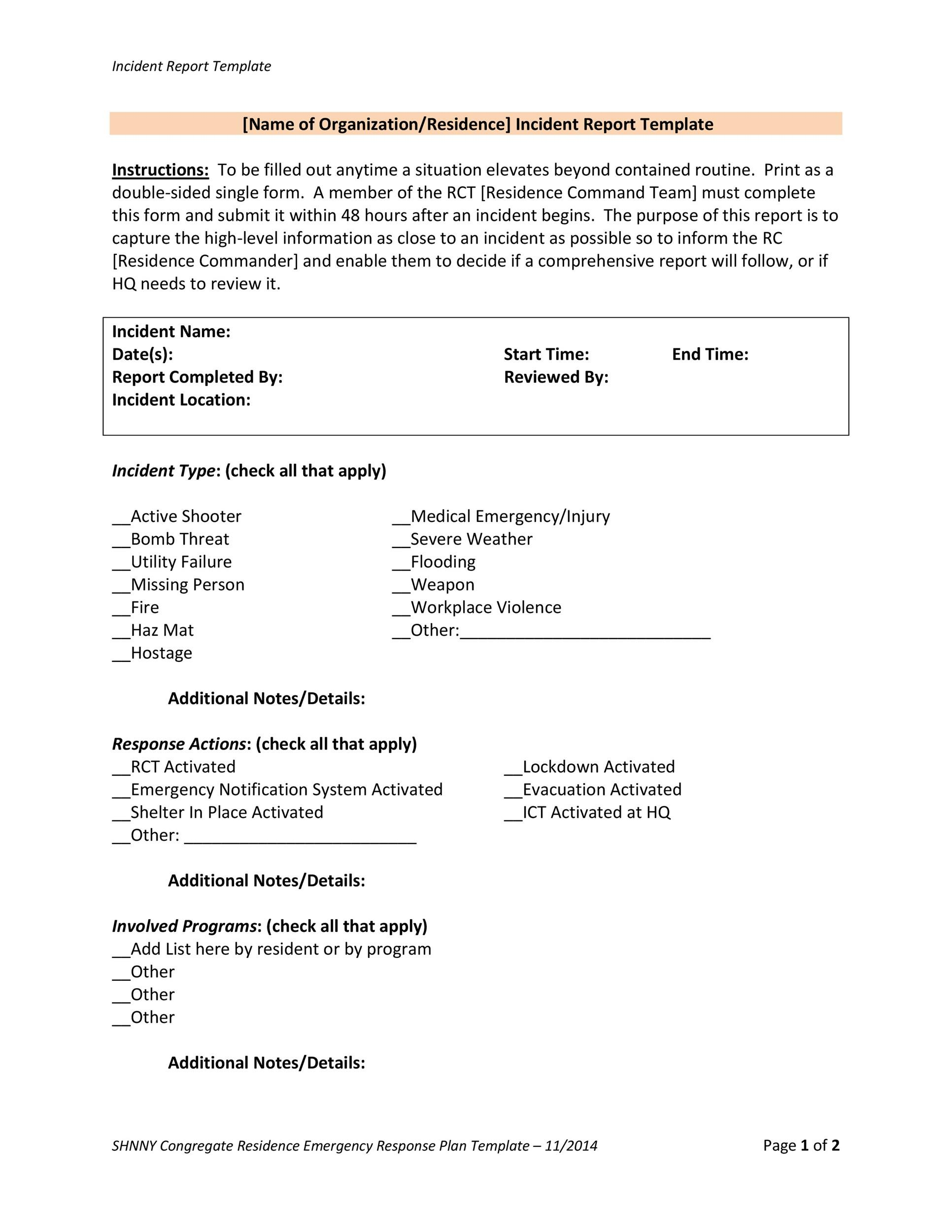 60+ Incident Report Template Employee, Police, Generic - Template Lab - medical incident report form