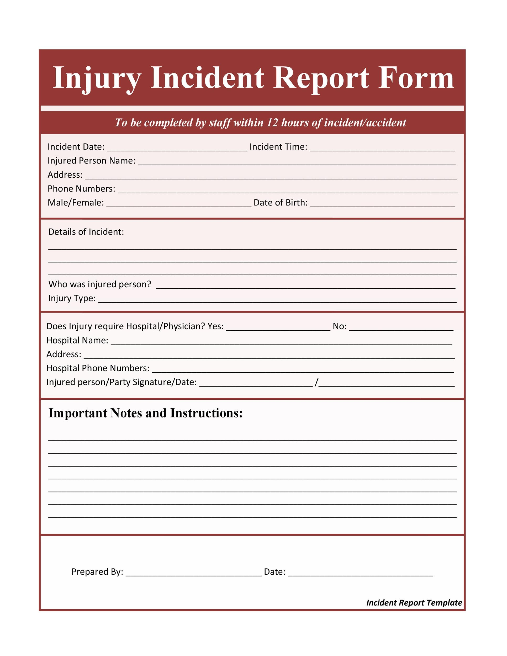 60+ Incident Report Template Employee, Police, Generic - Template Lab - Incident Reporting Form