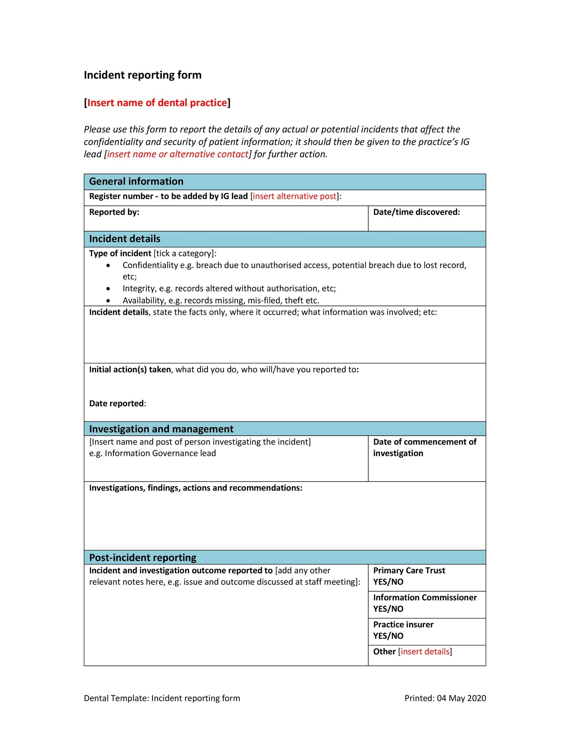 60+ Incident Report Template Employee, Police, Generic - Template Lab - incident reporting template