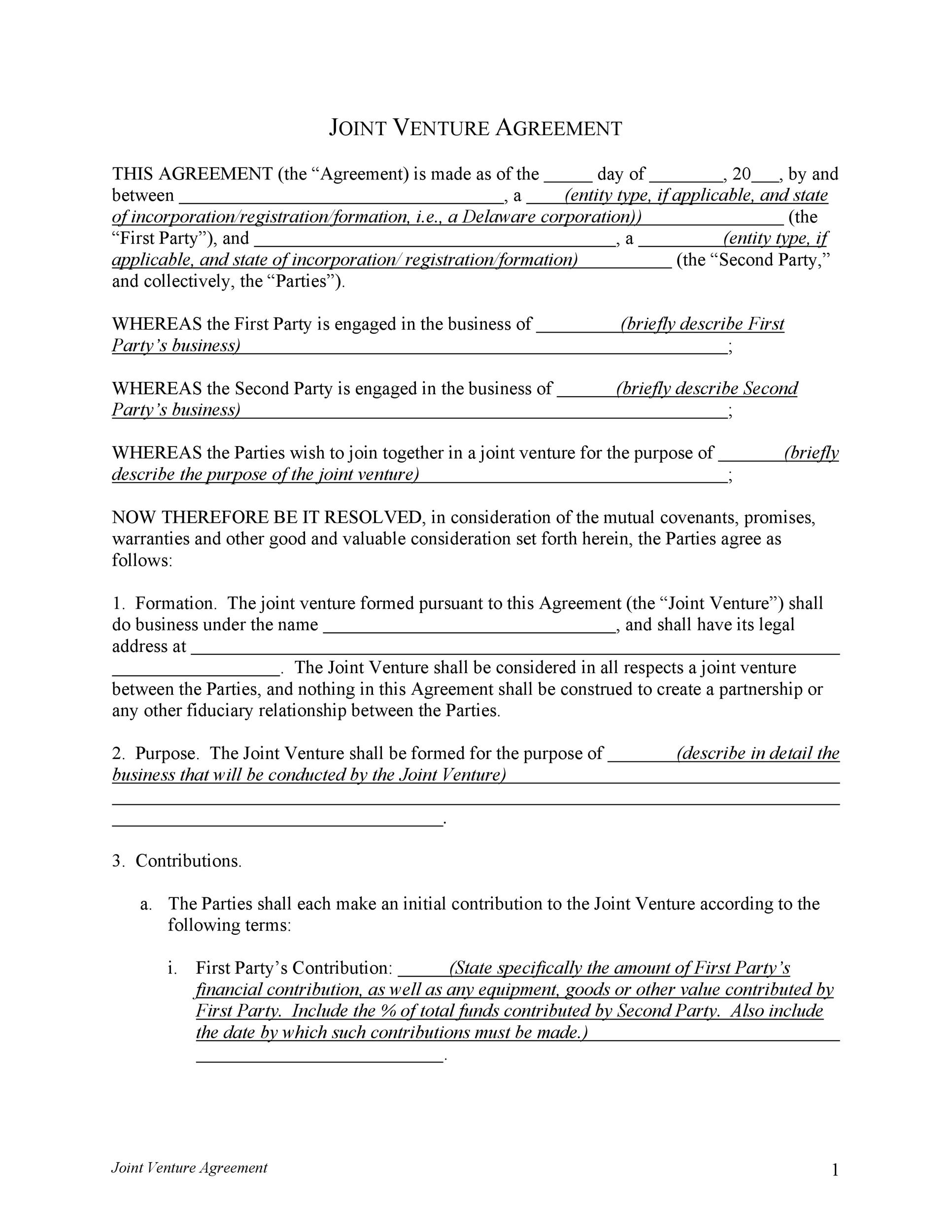 53 Simple Joint Venture Agreement Templates PDF, DOC - Template Lab - Heads Of Agreement Template Free