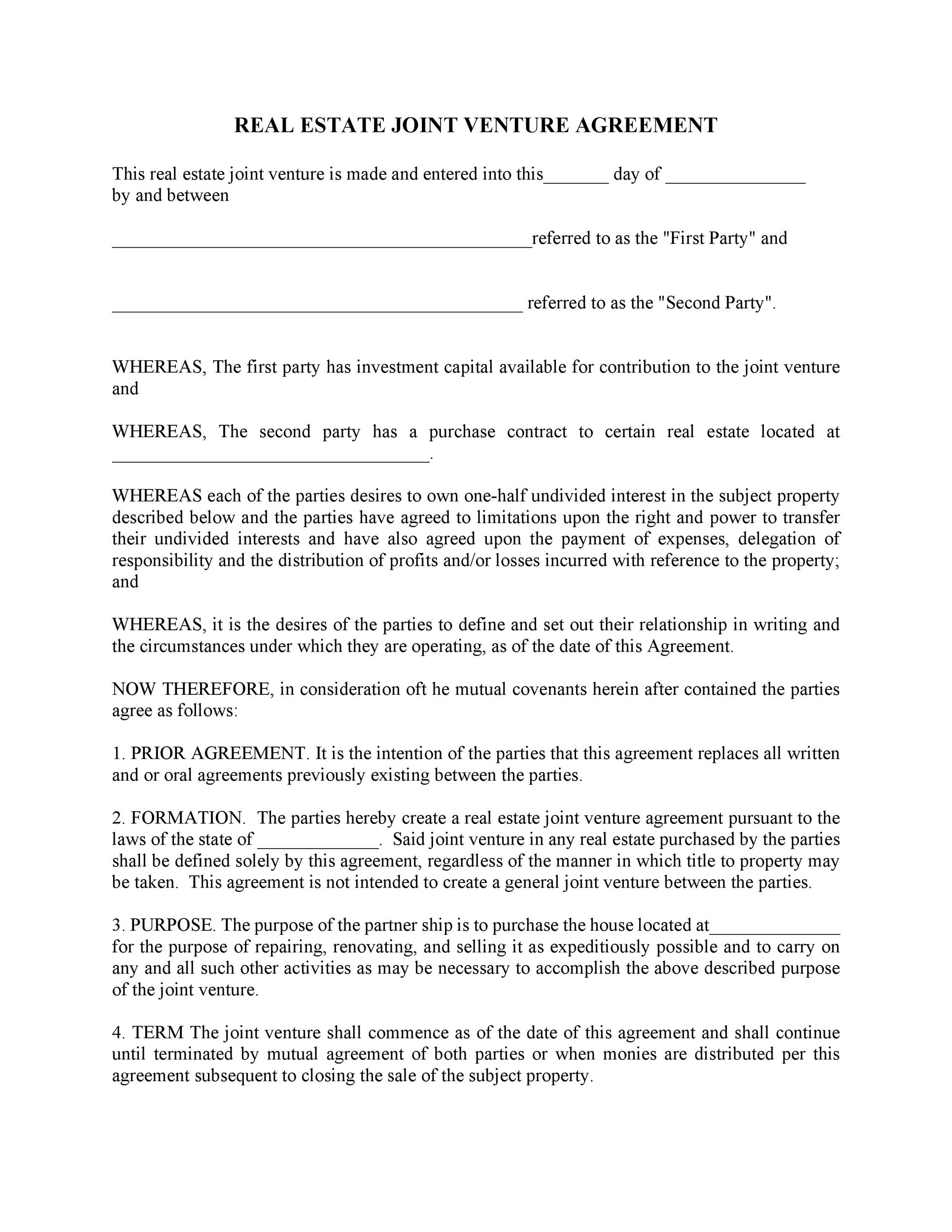 53 Simple Joint Venture Agreement Templates PDF, DOC - Template Lab