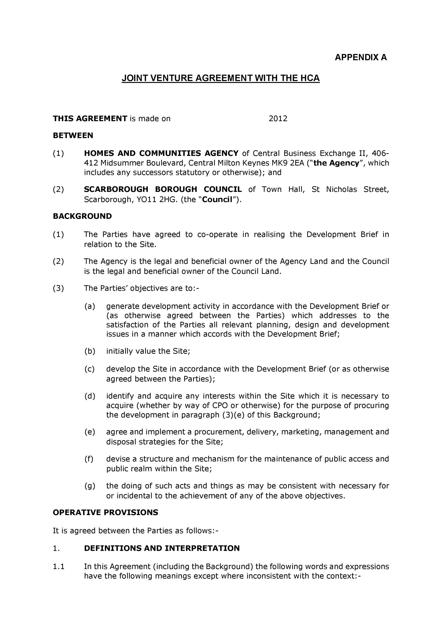 ... Joint Venture Agreement Sample Word Format U2013 Joint Venture Agreement  Sample Word Format ...
