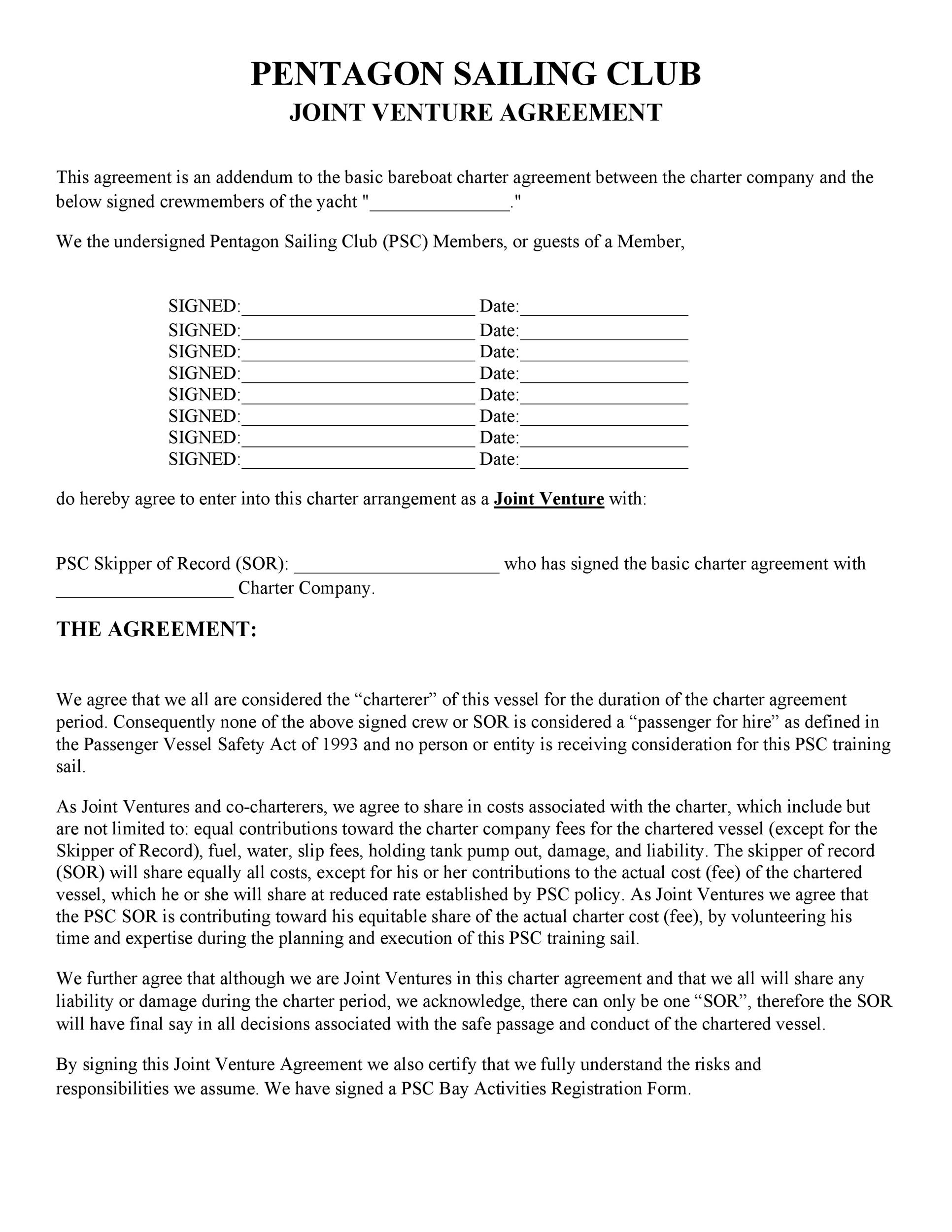 53 Simple Joint Venture Agreement Templates PDF, DOC - Template Lab - joint venture agreement
