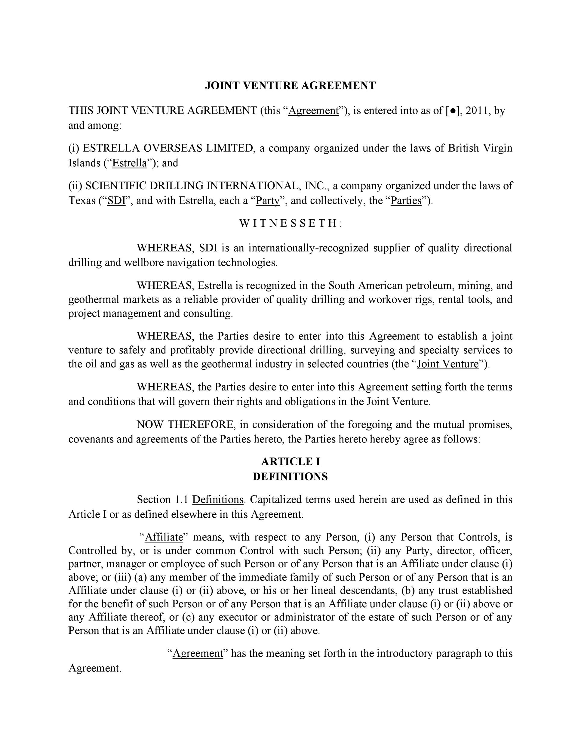 Joint Partnership Agreement Template joint venture agreement – Articles of Incorporation Template