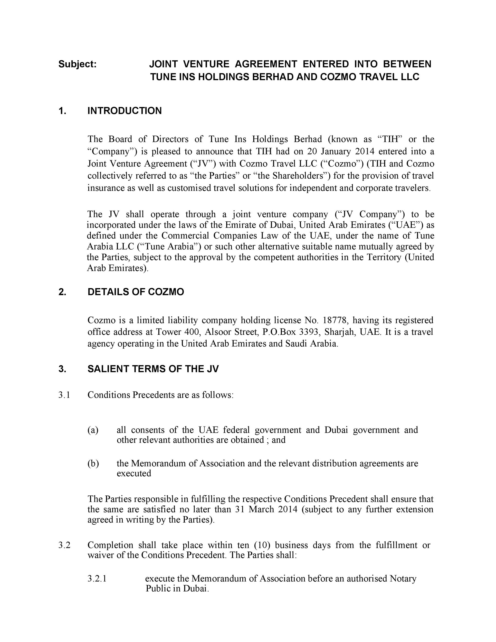 Joint Partnership Agreement Template joint venture agreement – Simple Joint Venture Agreement Sample