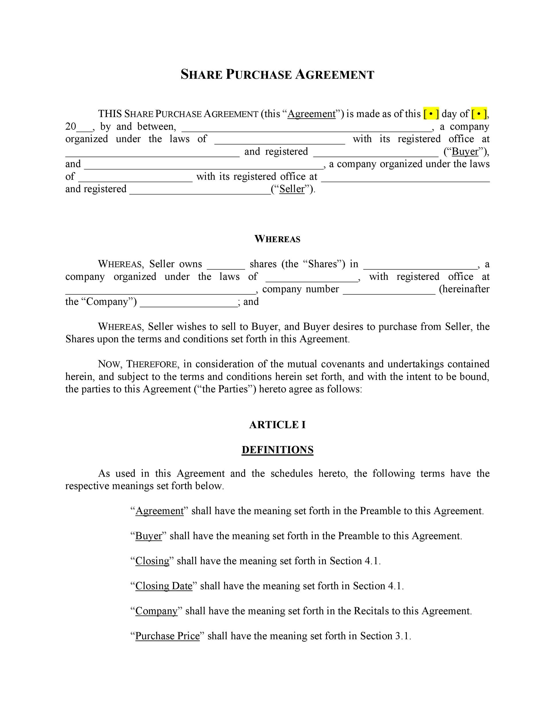 37 Simple Purchase Agreement Templates Real Estate, Business