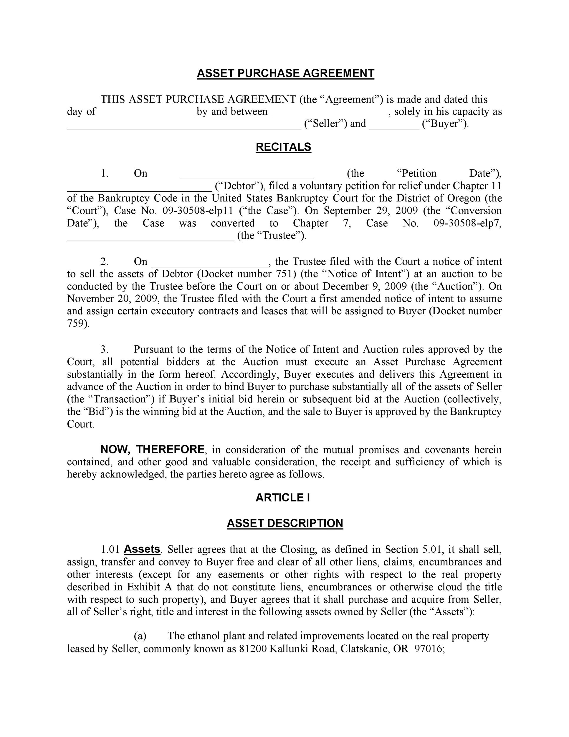 37 Simple Purchase Agreement Templates Real Estate, Business - asset purchase agreement template
