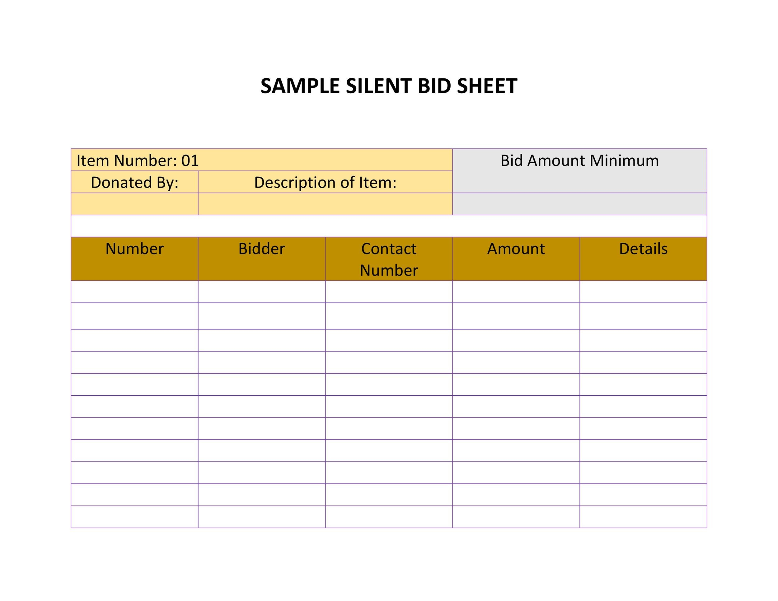 40+ Silent Auction Bid Sheet Templates Word, Excel - Template Lab - Bid Sheet Template Free