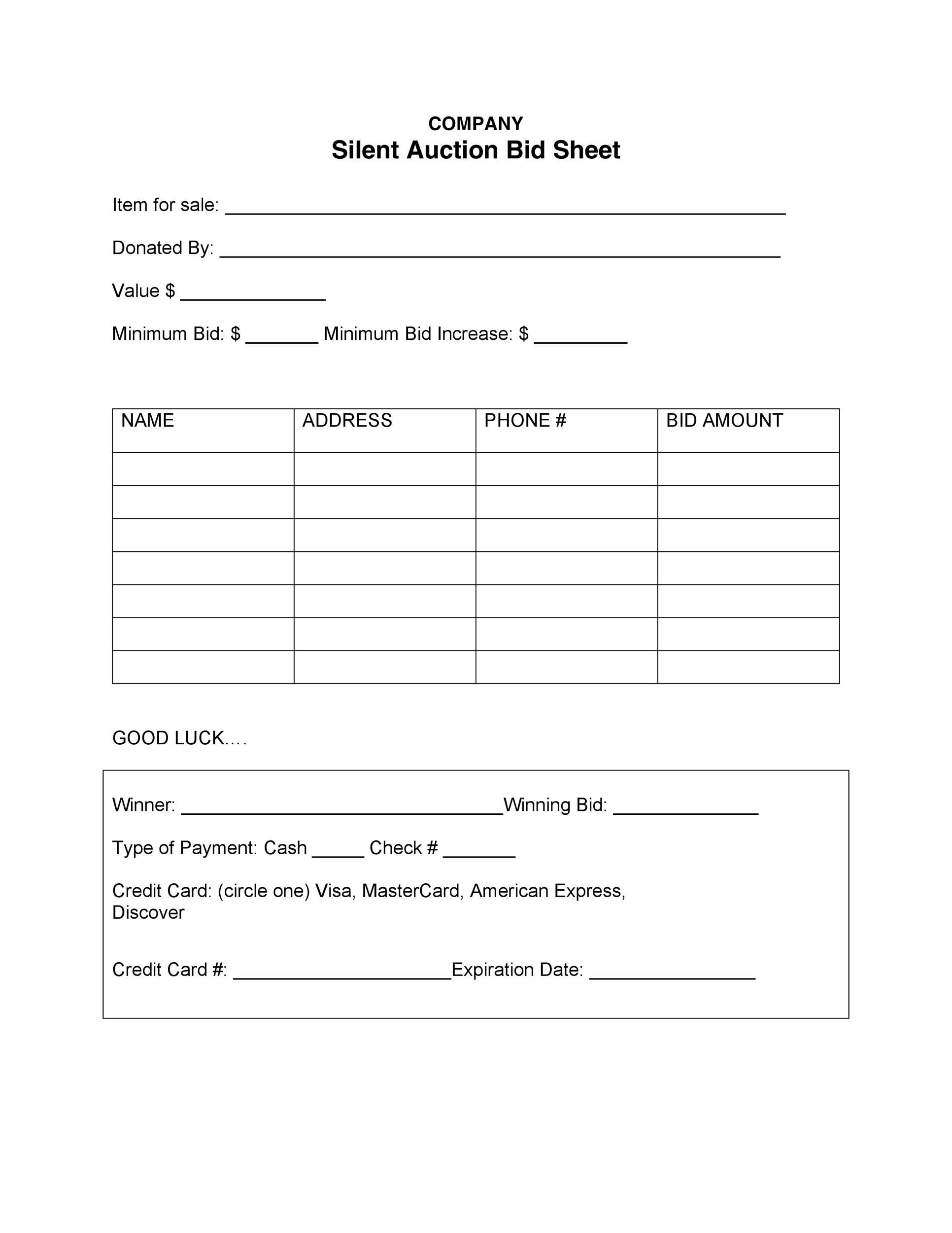 40+ Silent Auction Bid Sheet Templates Word, Excel ᐅ Template Lab