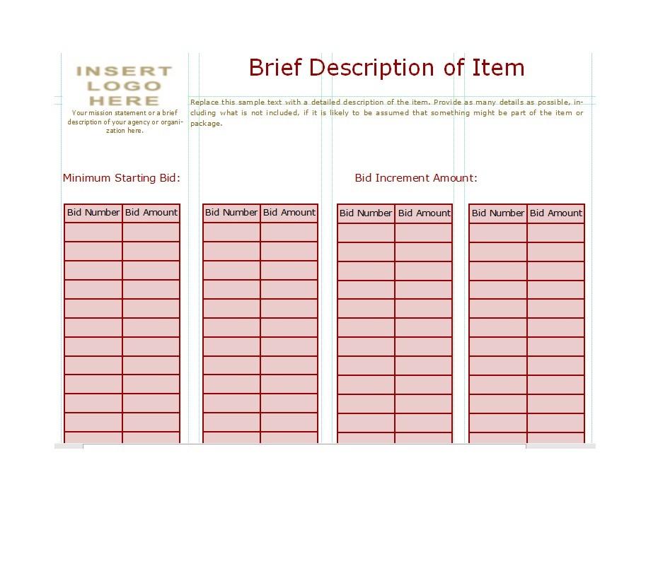 40+ Silent Auction Bid Sheet Templates Word, Excel - Template Lab - sample silent auction bid sheet