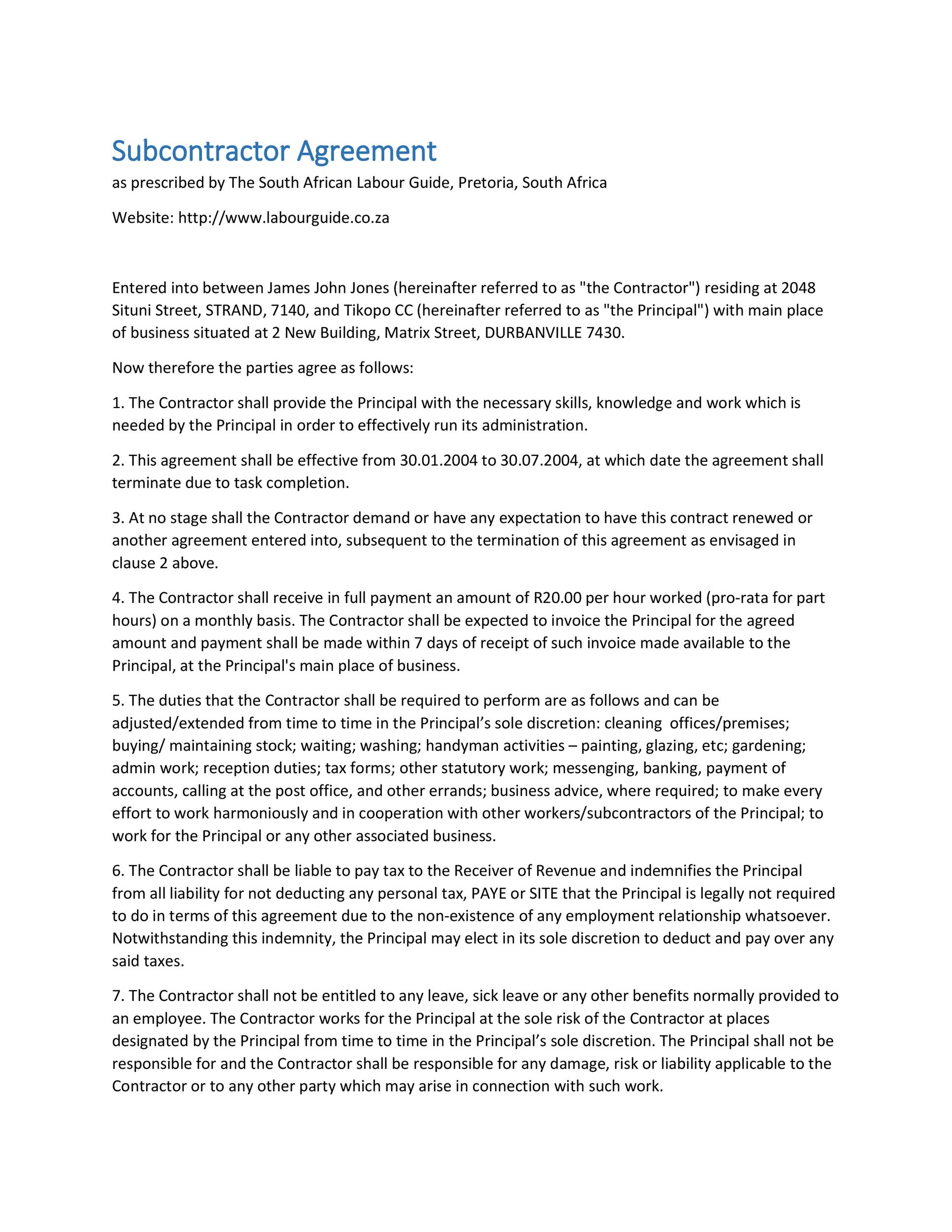 Payment Agreement Contract Subcontractor Agreement 10 Need A - sample subcontractor agreement