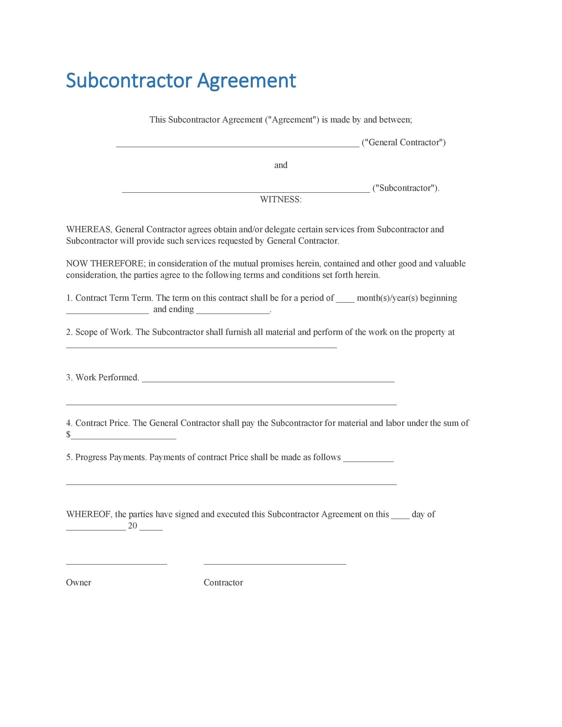Sample Subcontractor Agreement Sample Noncompete Agreement Form - subcontractor agreement template