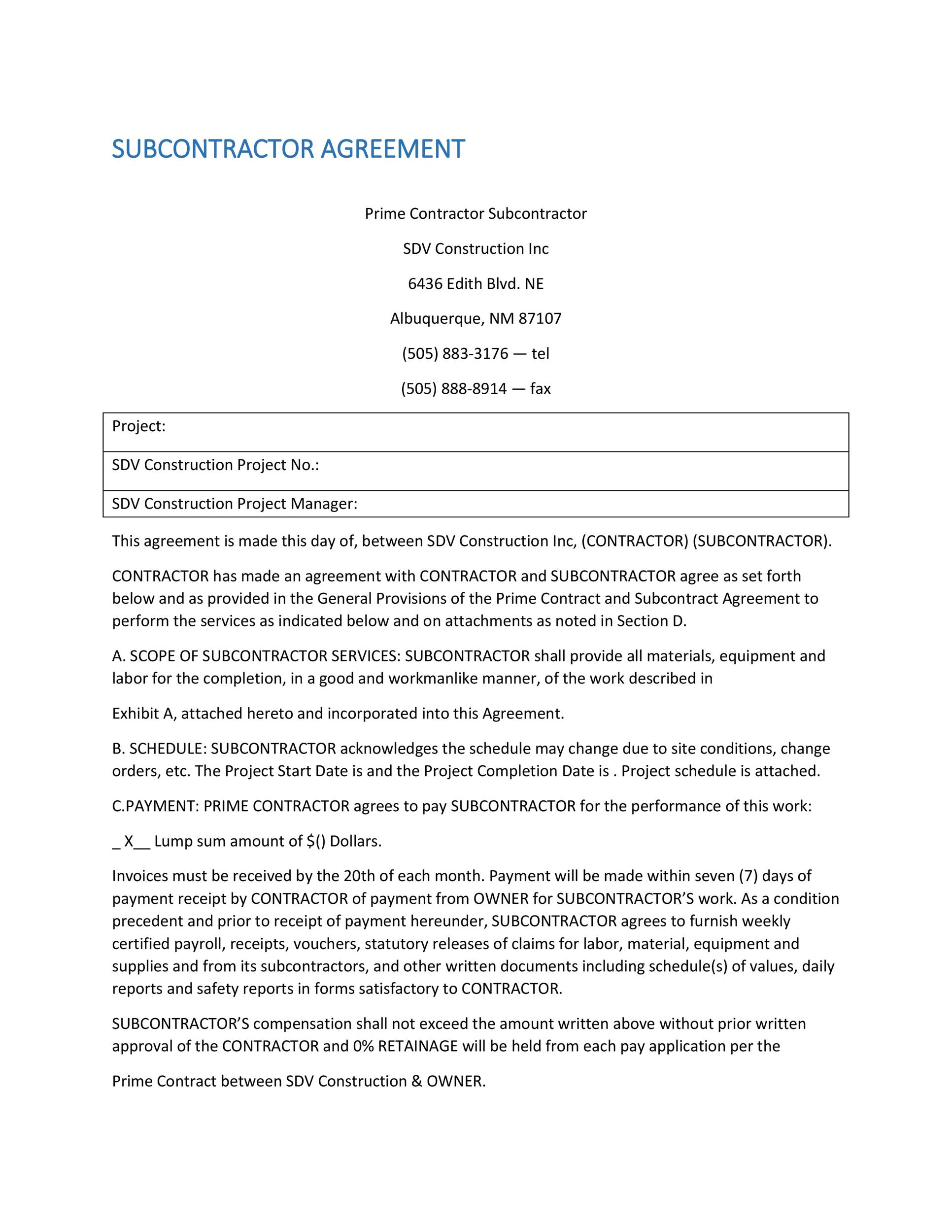 Need a Subcontractor Agreement? 39 Free Templates HERE - sample subcontractor agreement