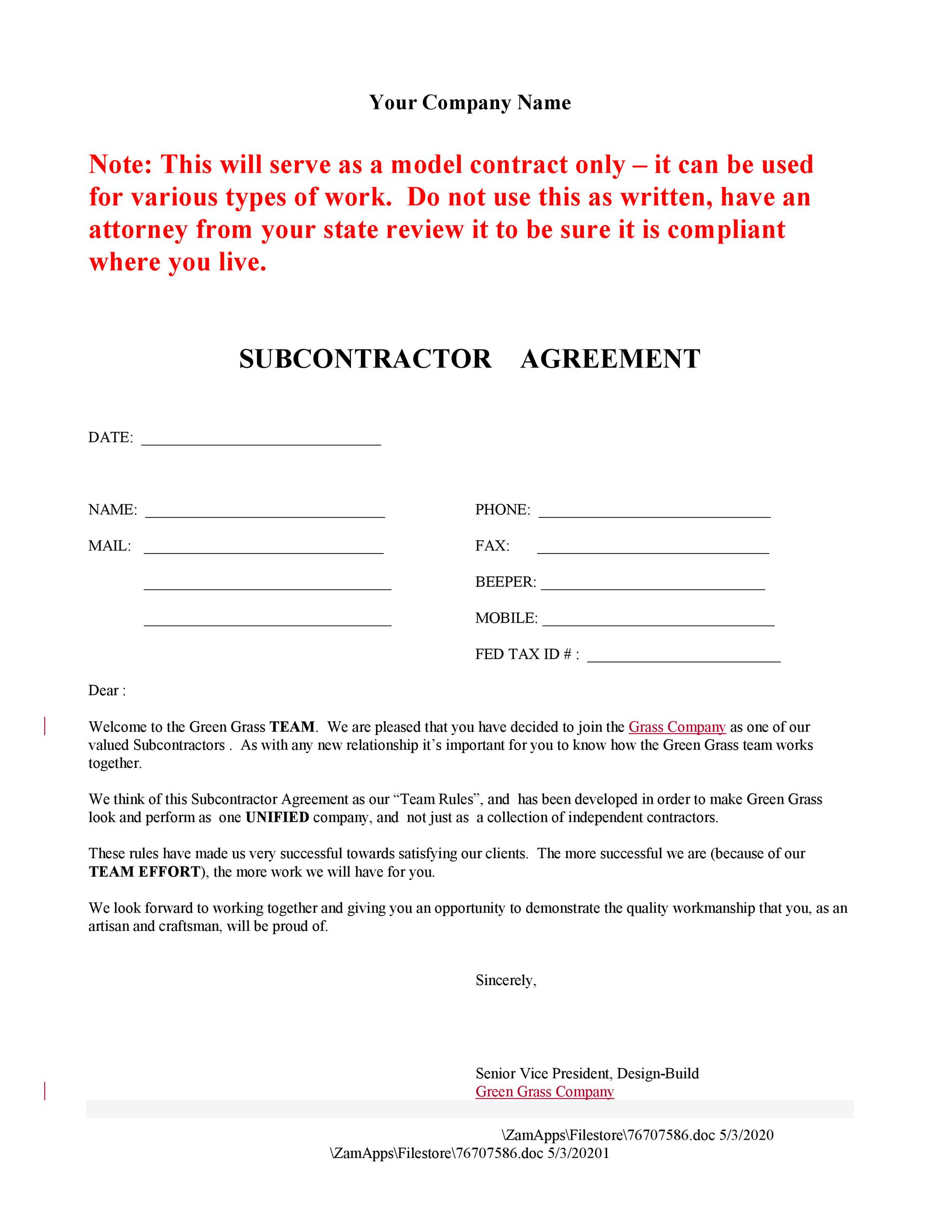 subcontractor agreement - Boatjeremyeaton - subcontractor agreement