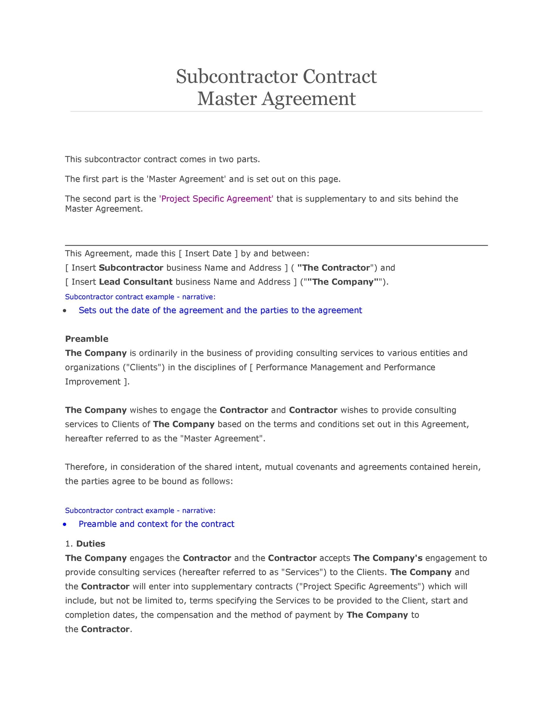 Need a Subcontractor Agreement? 39 Free Templates HERE - subcontractor agreements