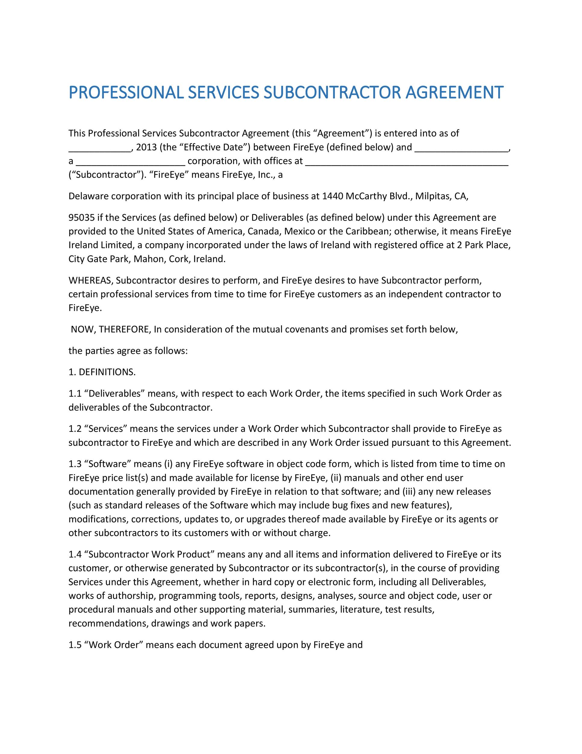 Subcontractor Agreements ContractorSubcontractor Agreement Form - subcontractor agreements