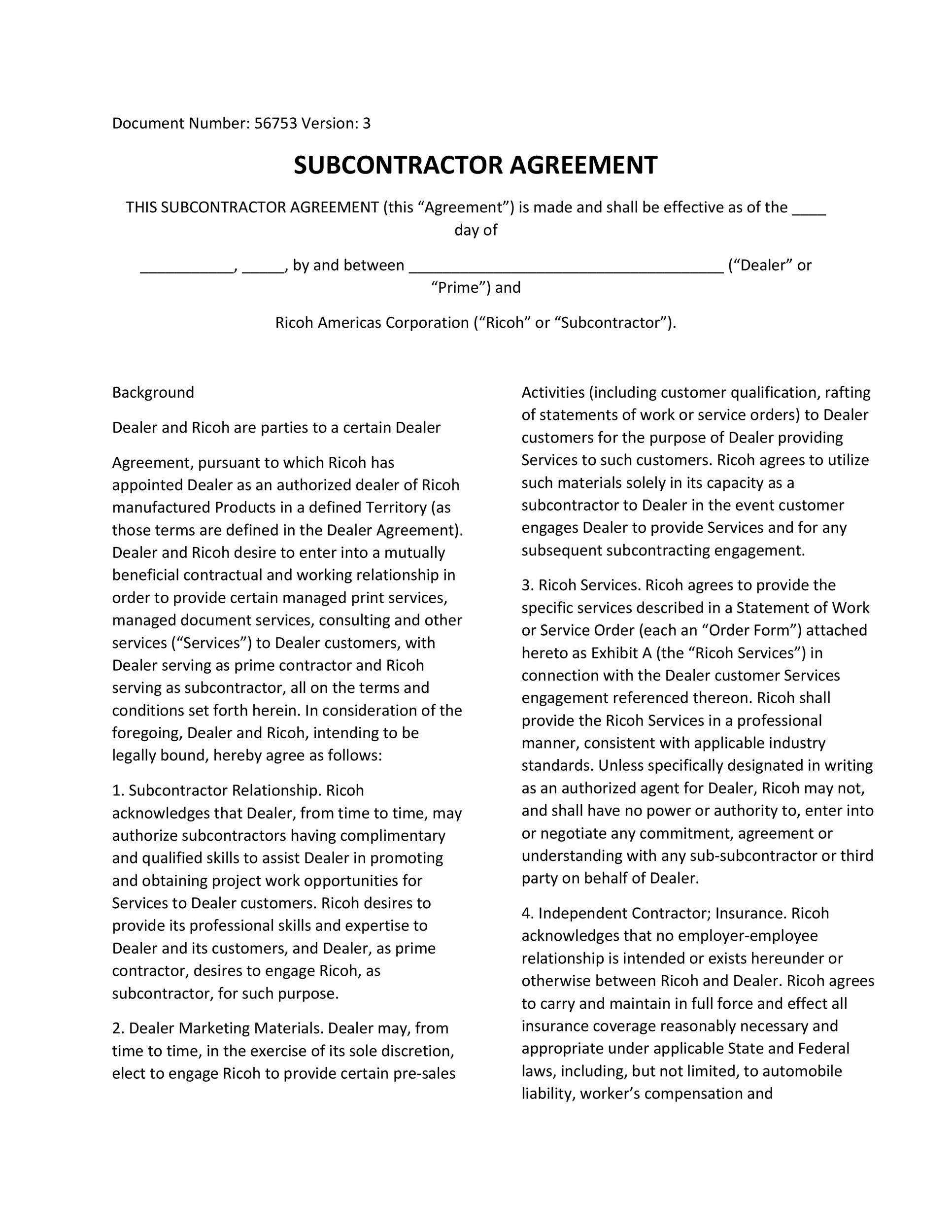 Need a Subcontractor Agreement? 39 Free Templates HERE - subcontractor agreement