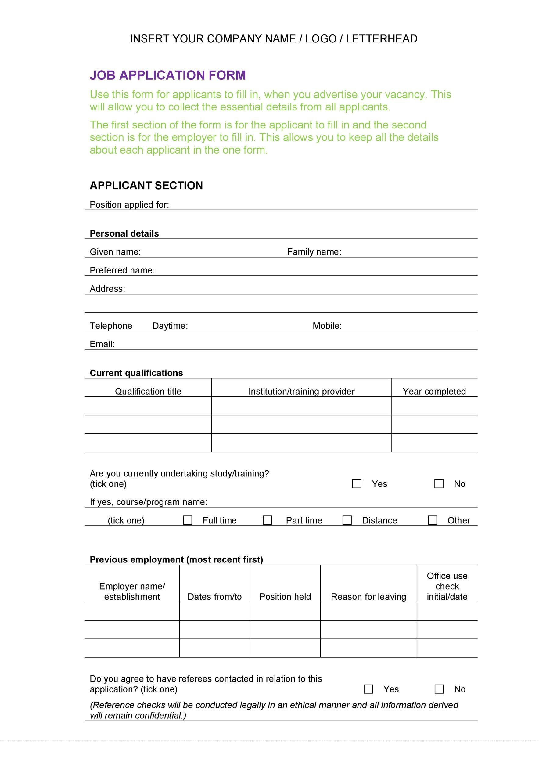Sample Employment Application Forms The Balance 50 Free Employment Job Application Form Templates